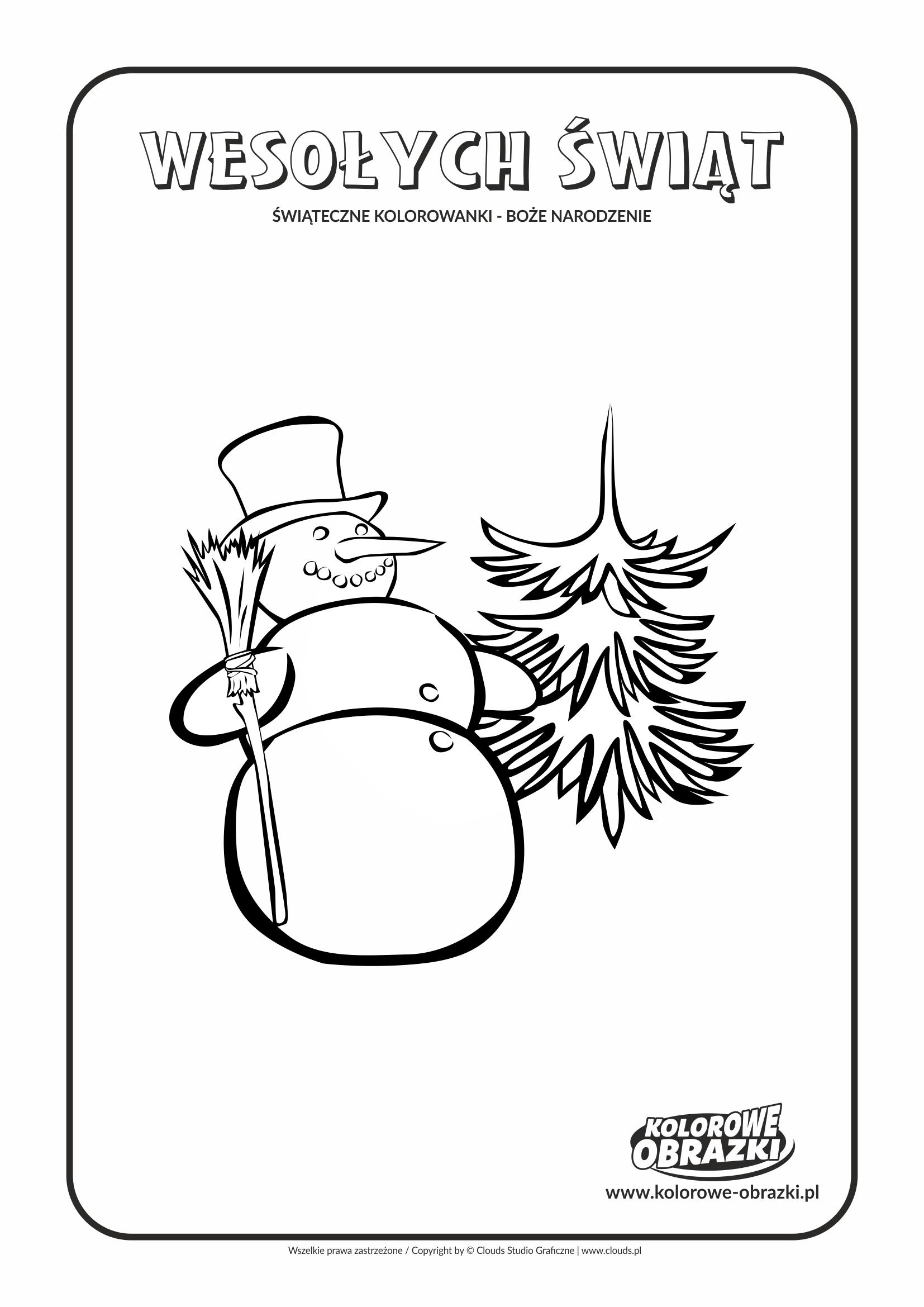 Kolorowanki dla dzieci - Święta / Boże Narodzenie - Bałwan. Kolorowanka z Bożym Narodzeniem