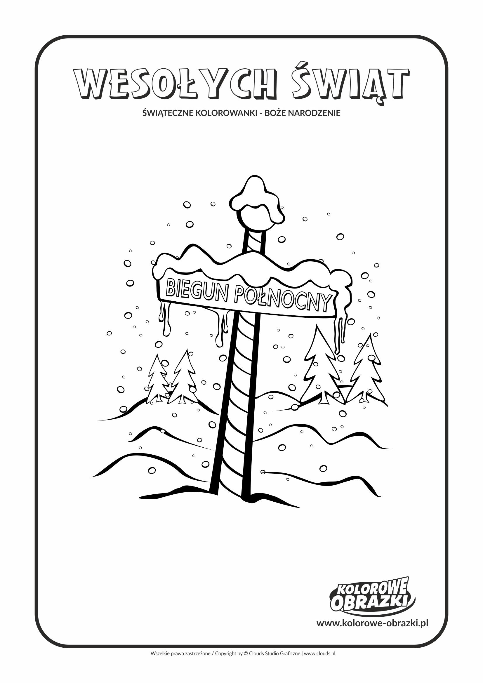 Kolorowanki dla dzieci - Święta / Boże Narodzenie - Biegun Północny 2. Kolorowanka z Bożym Narodzeniem