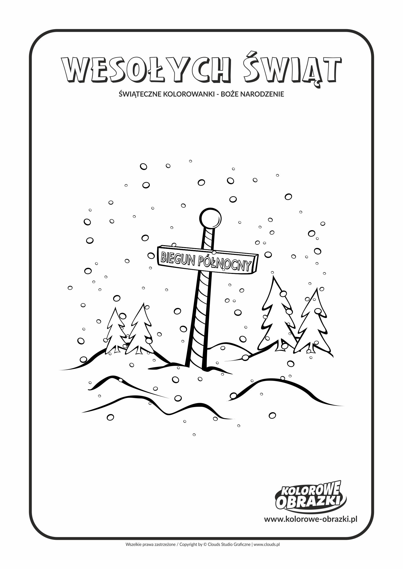 Kolorowanki dla dzieci - Święta / Boże Narodzenie - Biegun Północny. Kolorowanka z Bożym Narodzeniem