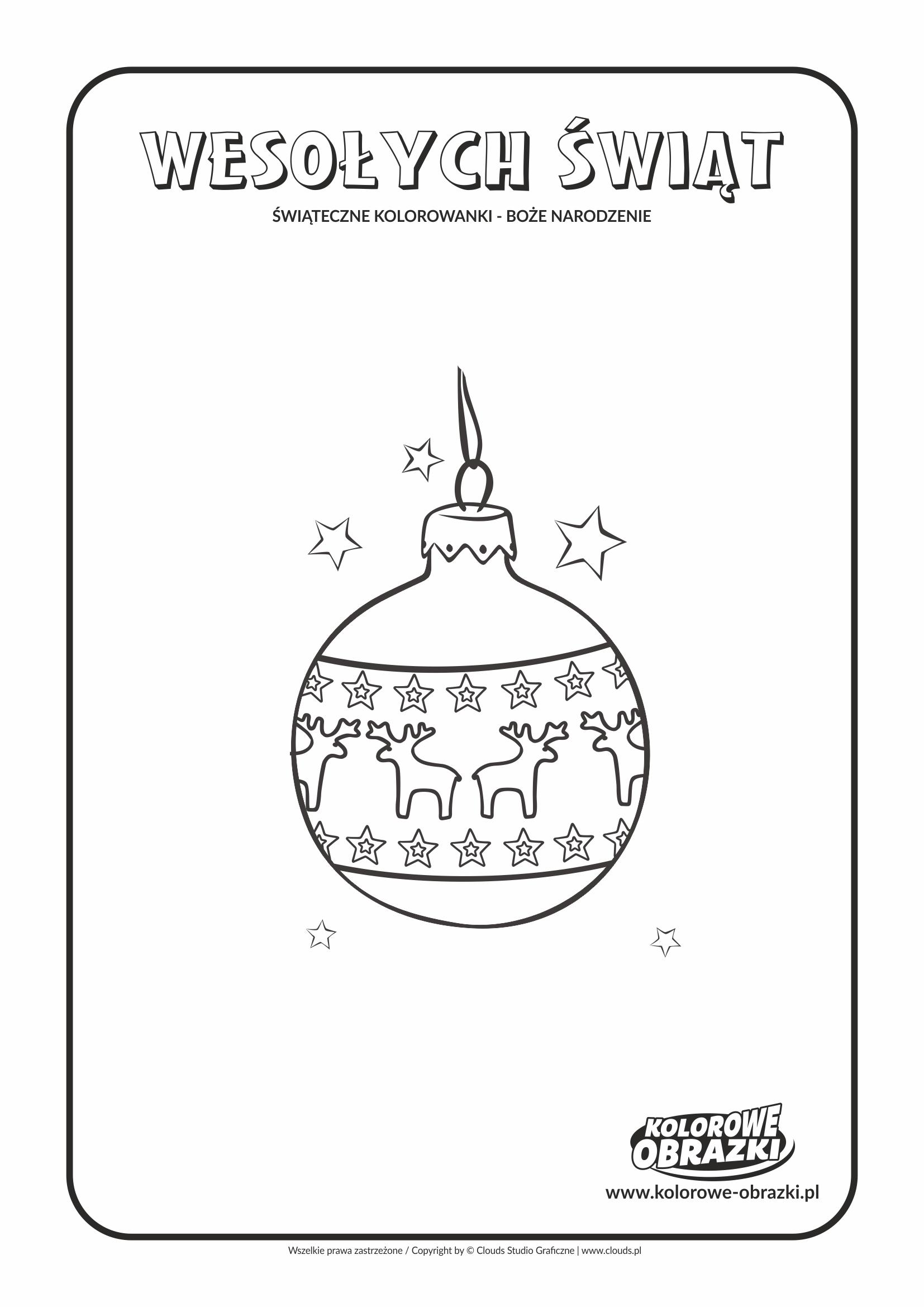Kolorowanki dla dzieci - Święta / Boże Narodzenie - Bombka 2. Kolorowanka z Bożym Narodzeniem