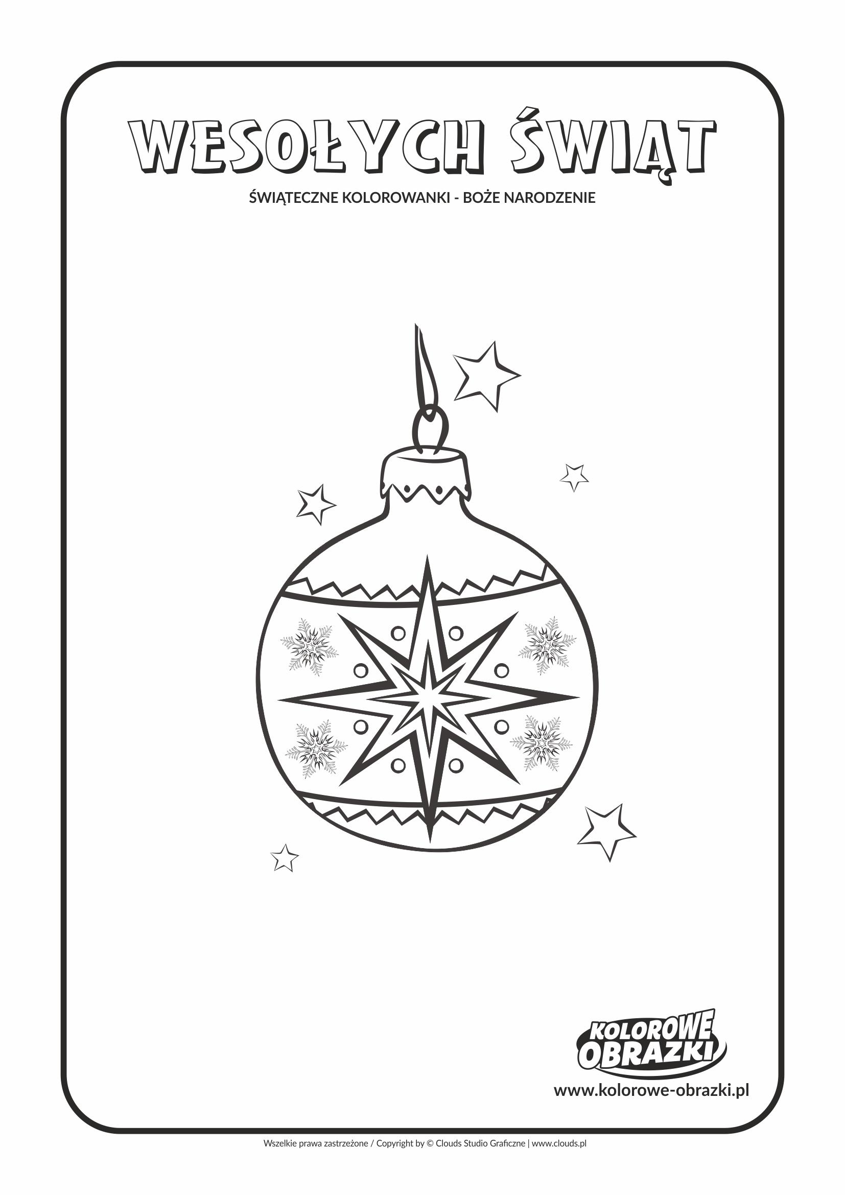 Kolorowanki dla dzieci - Święta / Boże Narodzenie - Bombka 3. Kolorowanka z Bożym Narodzeniem