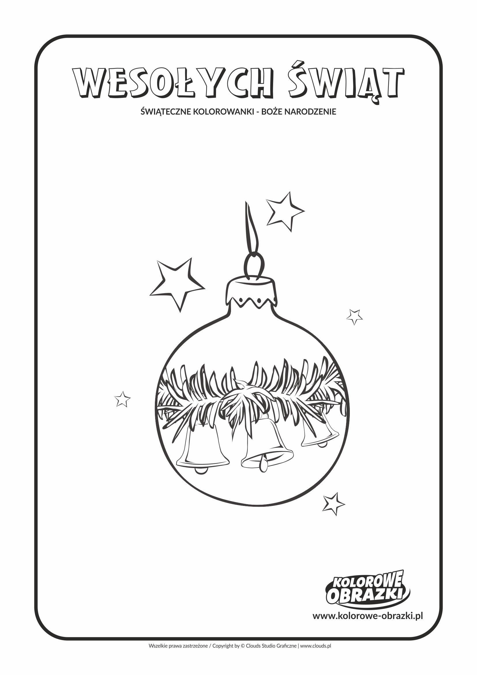 Kolorowanki dla dzieci - Święta / Boże Narodzenie - Bombka 4. Kolorowanka z Bożym Narodzeniem