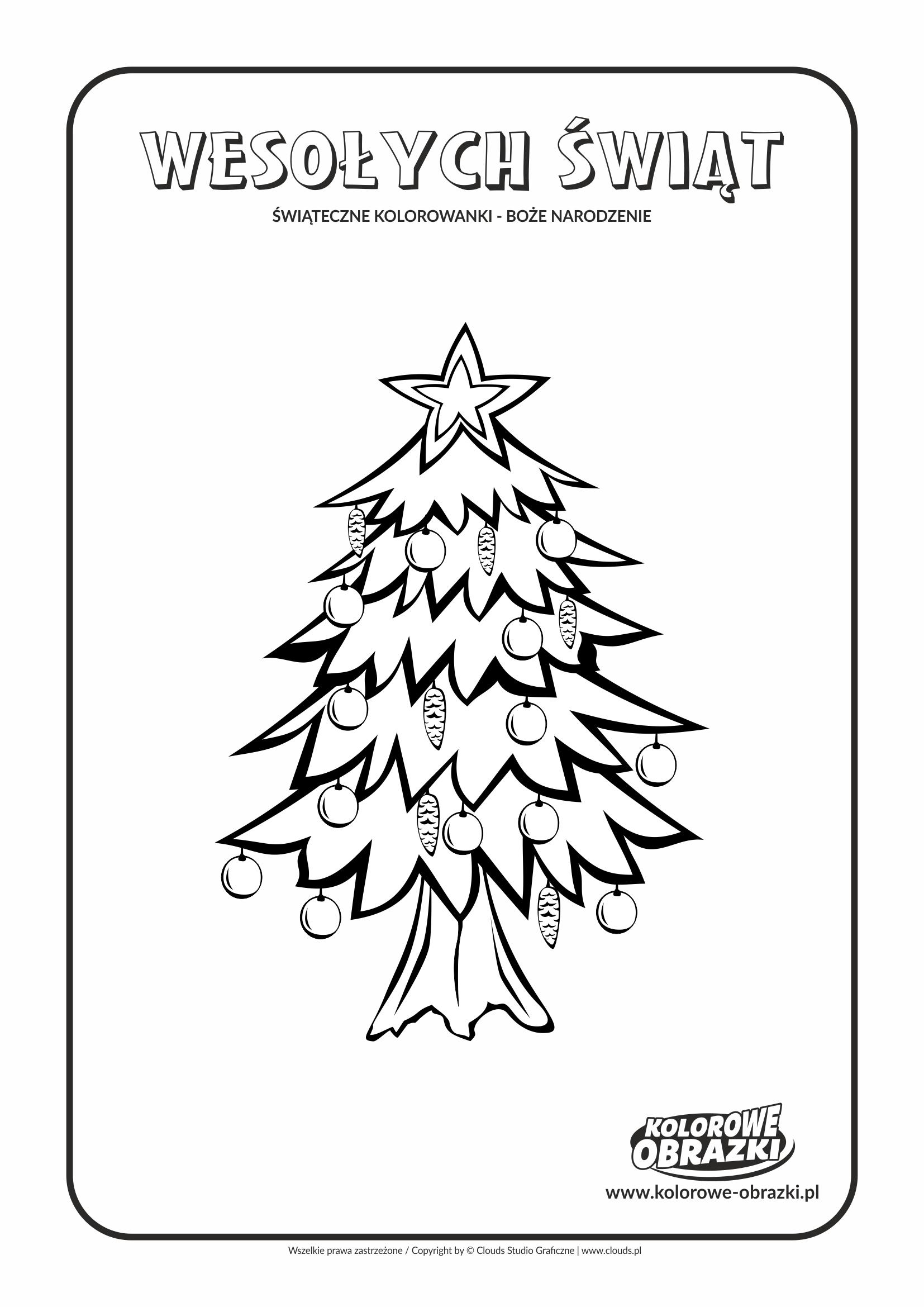 Kolorowanki dla dzieci - Święta / Boże Narodzenie - Choinka 2. Kolorowanka z Bożym Narodzeniem