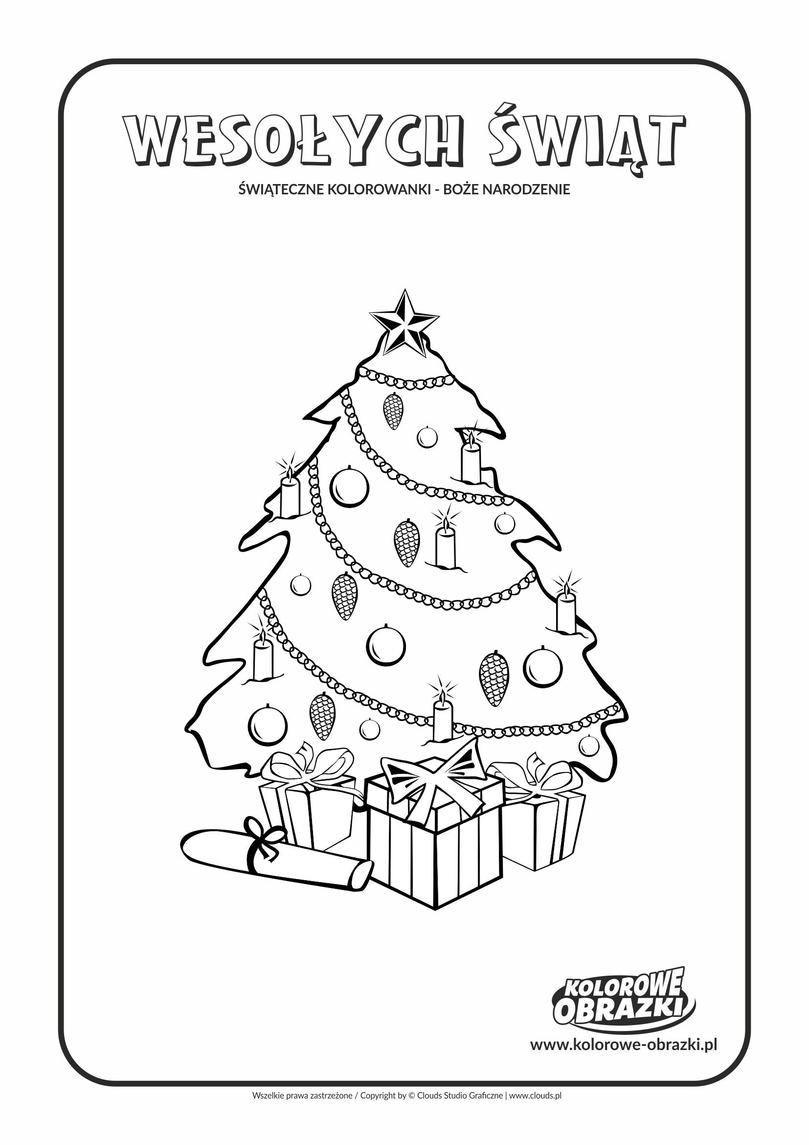 Kolorowanki dla dzieci - Święta / Boże Narodzenie - Bożonarodzeniowa choinka 3. Kolorowanka z Bożym Narodzeniem