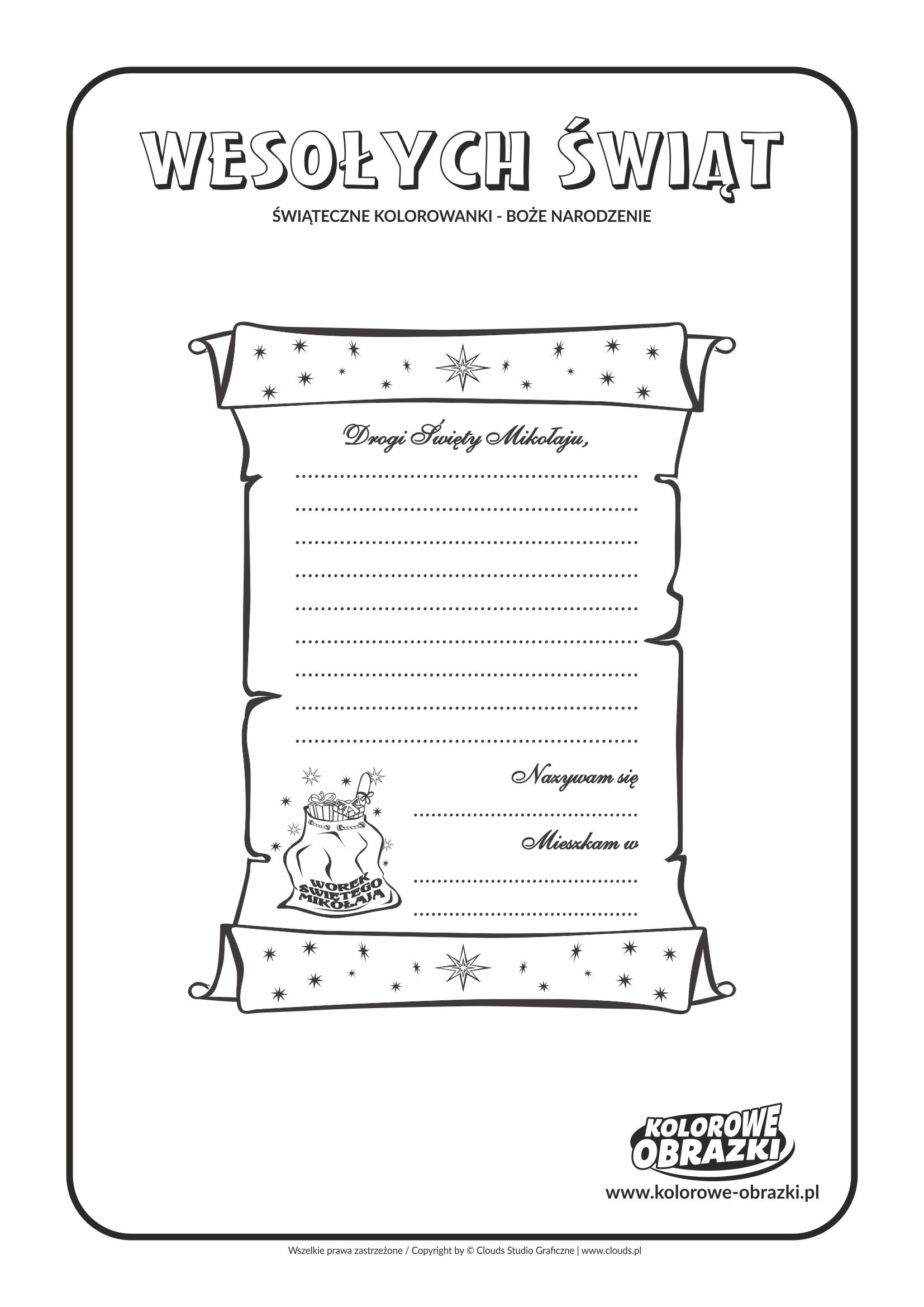Kolorowanki dla dzieci - Święta / Boże Narodzenie - List do Świętego Mikołaja. Kolorowanka z Bożym Narodzeniem