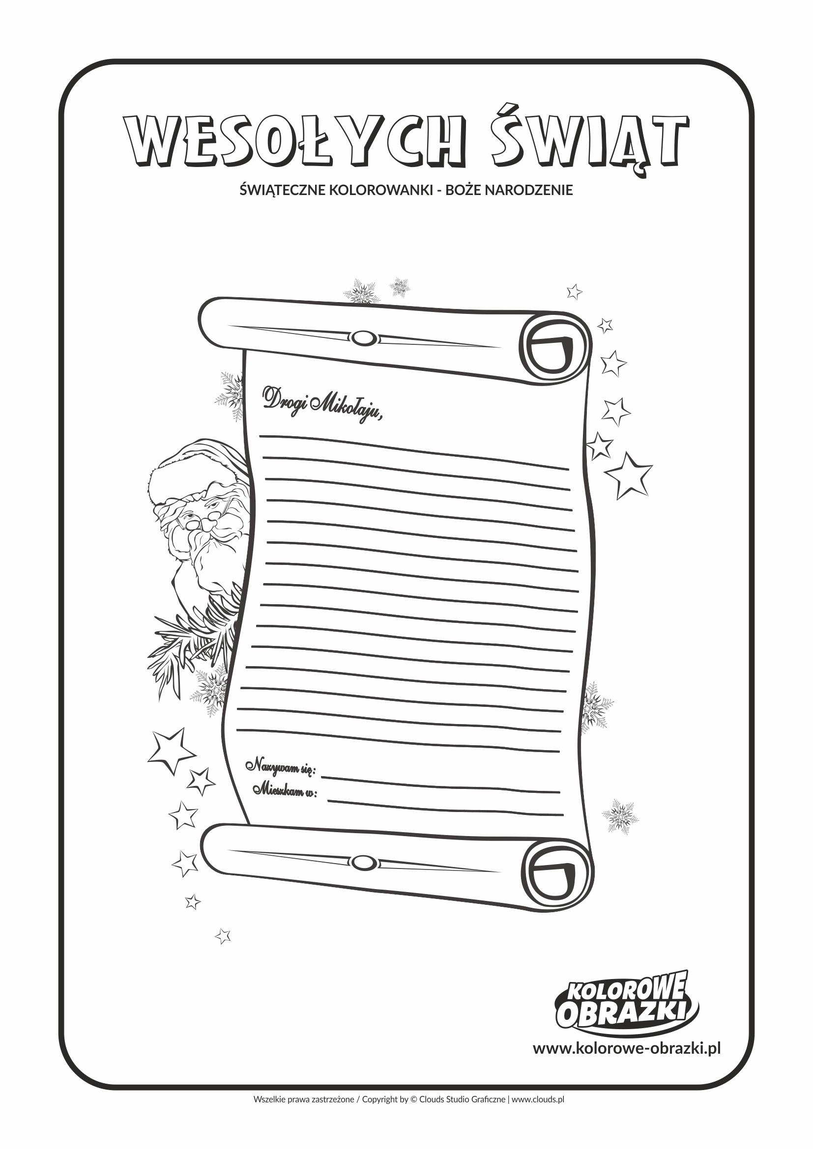 Kolorowanki dla dzieci - Święta / Boże Narodzenie - List do Świętego Mikołaja 2. Kolorowanka z Bożym Narodzeniem