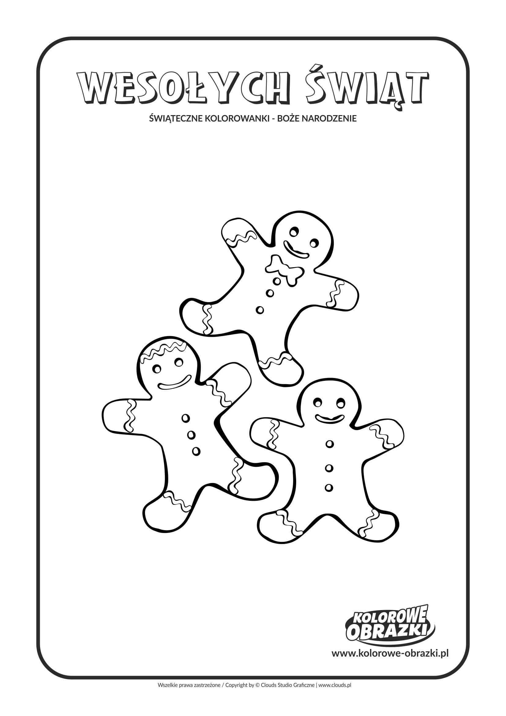 Kolorowanki dla dzieci - Święta / Boże Narodzenie - Piernikowe ludziki. Kolorowanka z Bożym Narodzeniem