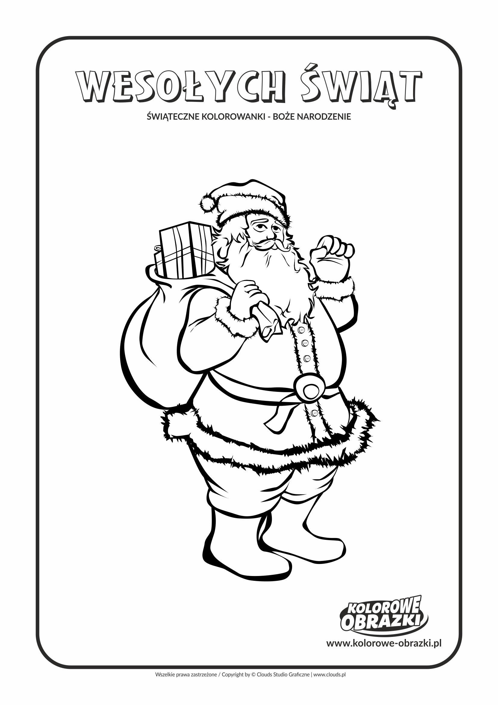 Kolorowanki dla dzieci - Święta / Boże Narodzenie - Święty Mikołaj 2. Kolorowanka z Bożym Narodzeniem