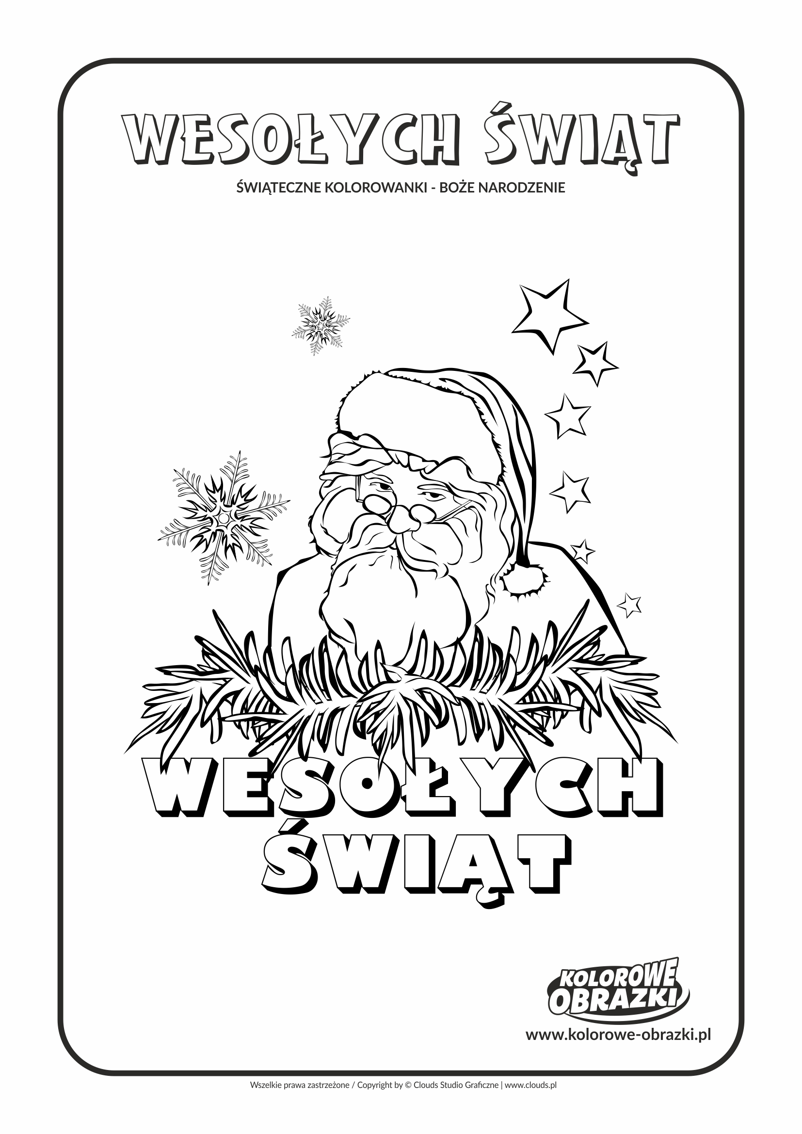 Kolorowanki dla dzieci - Święta / Boże Narodzenie - Święty Mikołaj. Kolorowanka z Bożym Narodzeniem