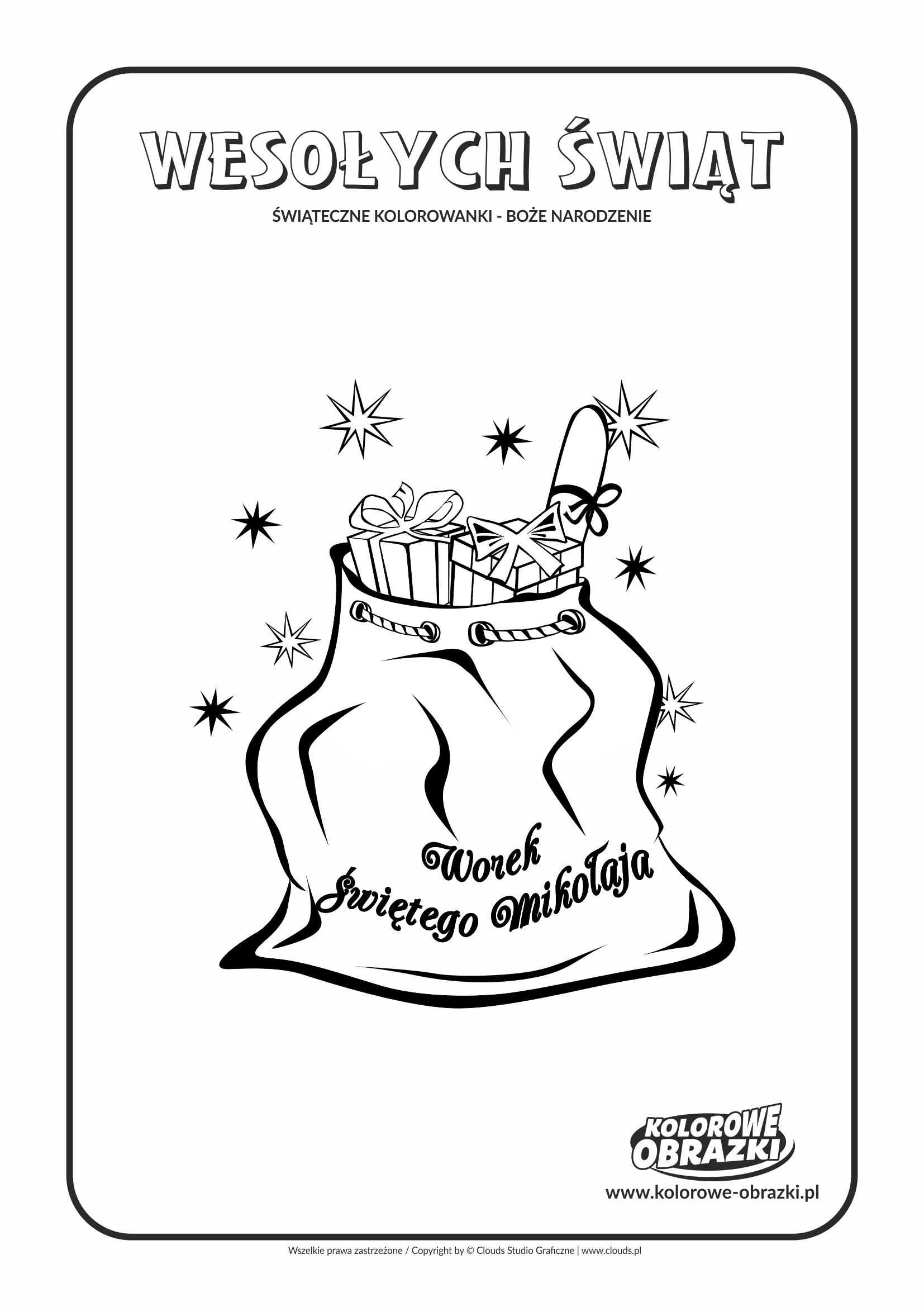 Kolorowanki dla dzieci - Święta / Boże Narodzenie - Worek Świętego Mikołaja. Kolorowanka z Bożym Narodzeniem