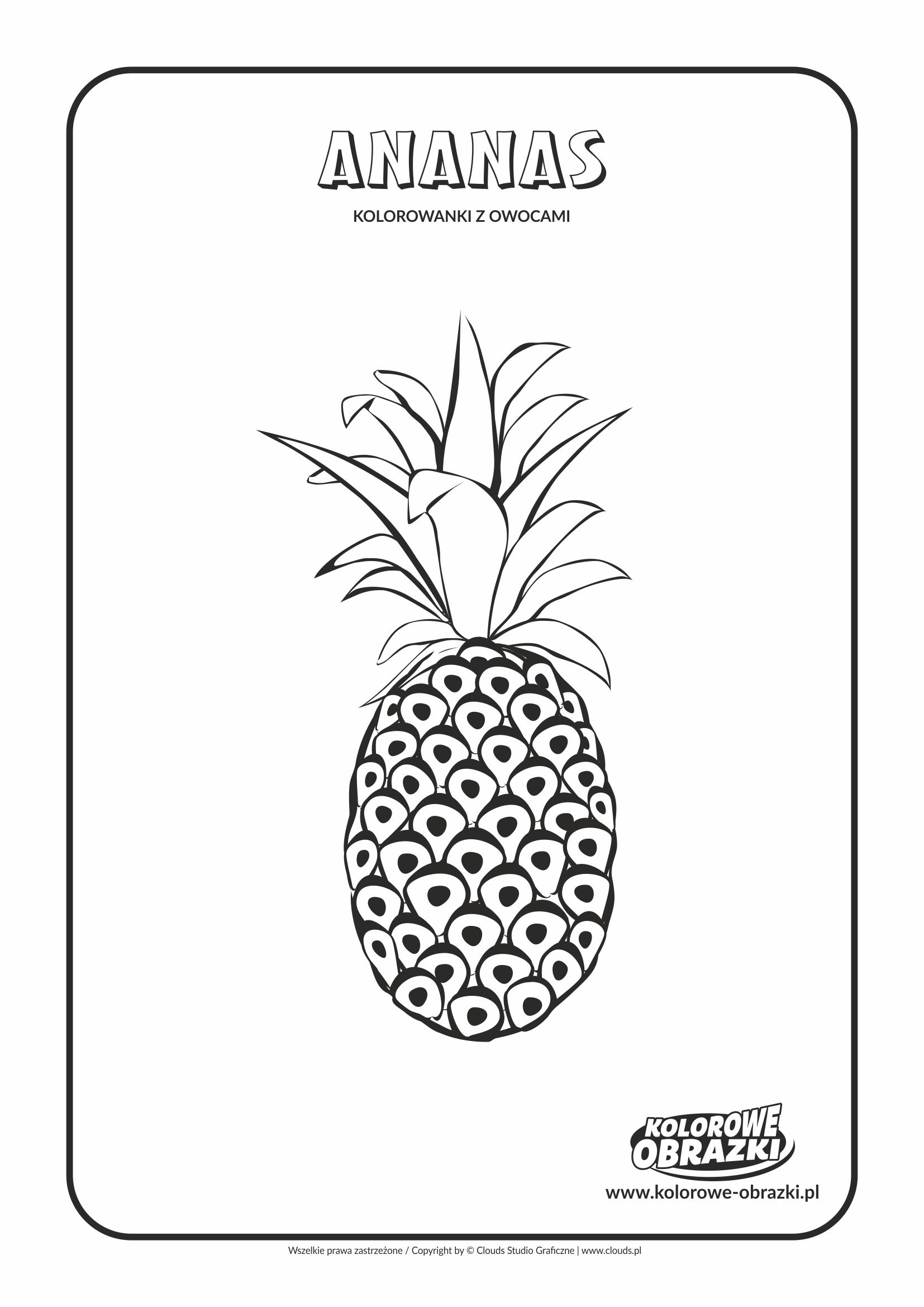 Kolorowanki dla dzieci - Rośliny / Ananas. Kolorowanka z ananasem