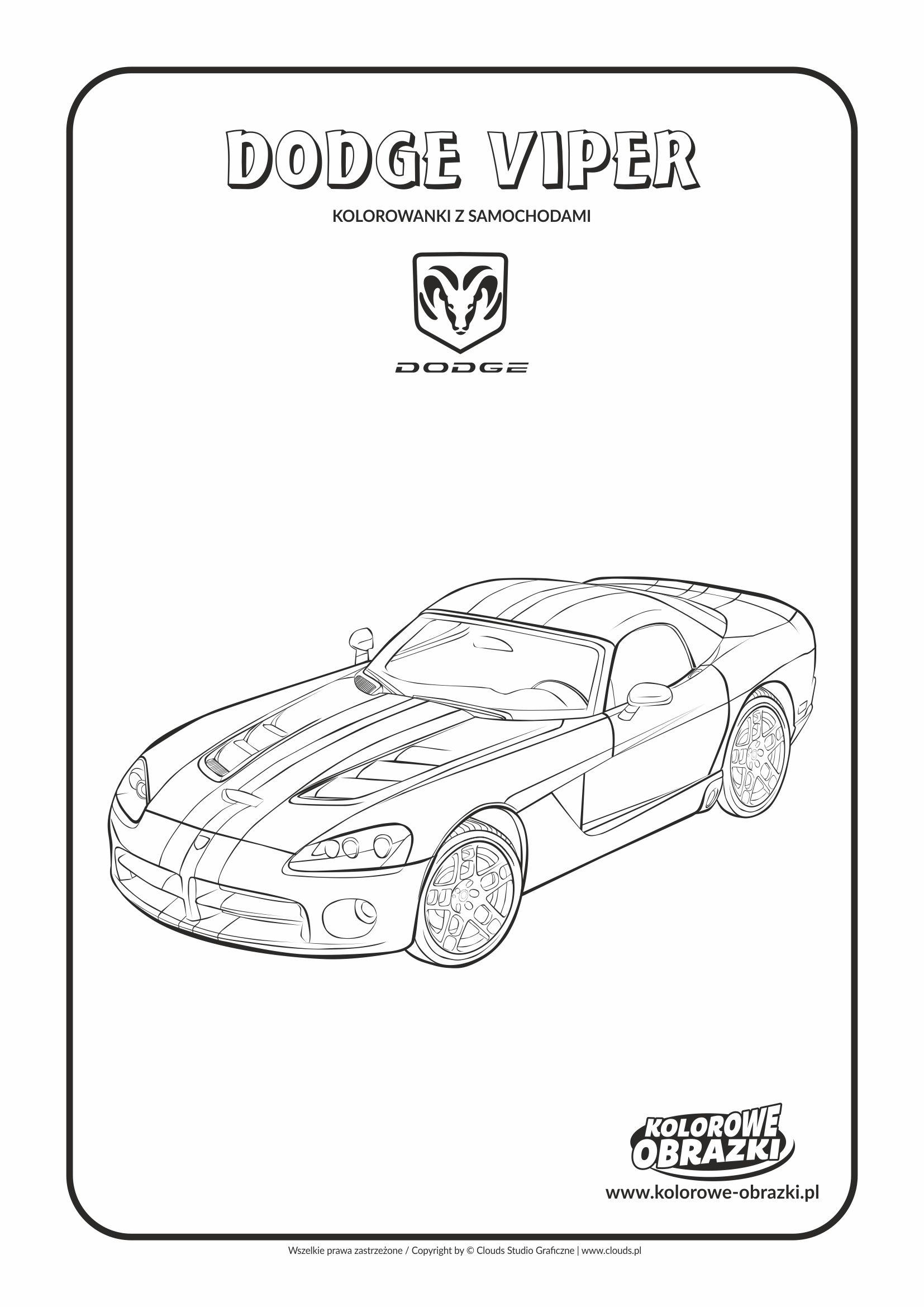 Kolorowanki dla dzieci - Pojazdy / Dodge Viper. Kolorowanka z Dodgem Viper