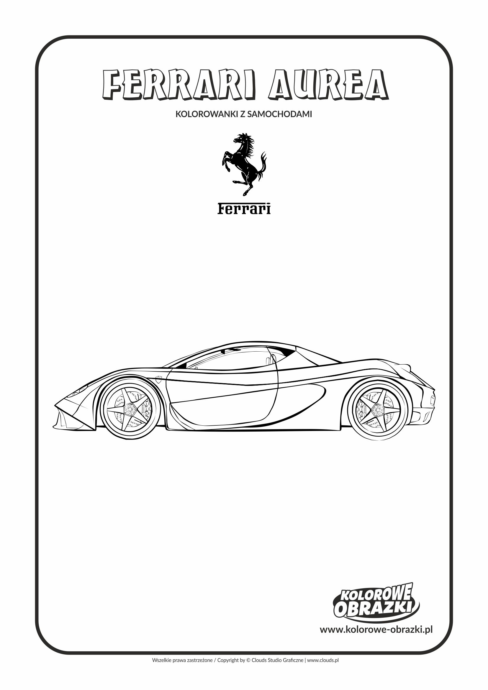 Kolorowanki dla dzieci - Pojazdy / Ferrari Aurea. Kolorowanka z Ferrari Aurea