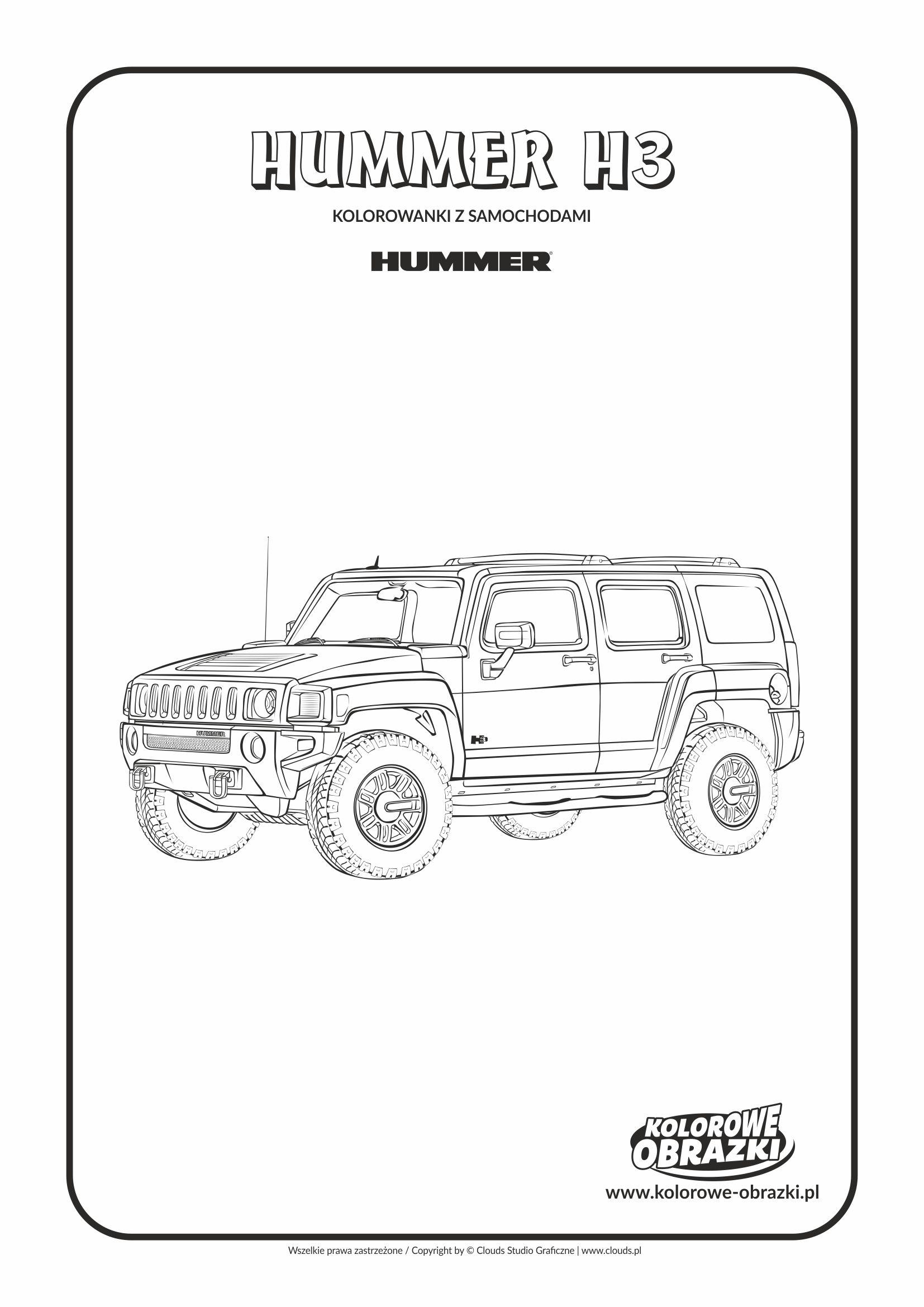 Kolorowanki dla dzieci - Pojazdy / Hummer H3. Kolorowanka z Hummerem H3
