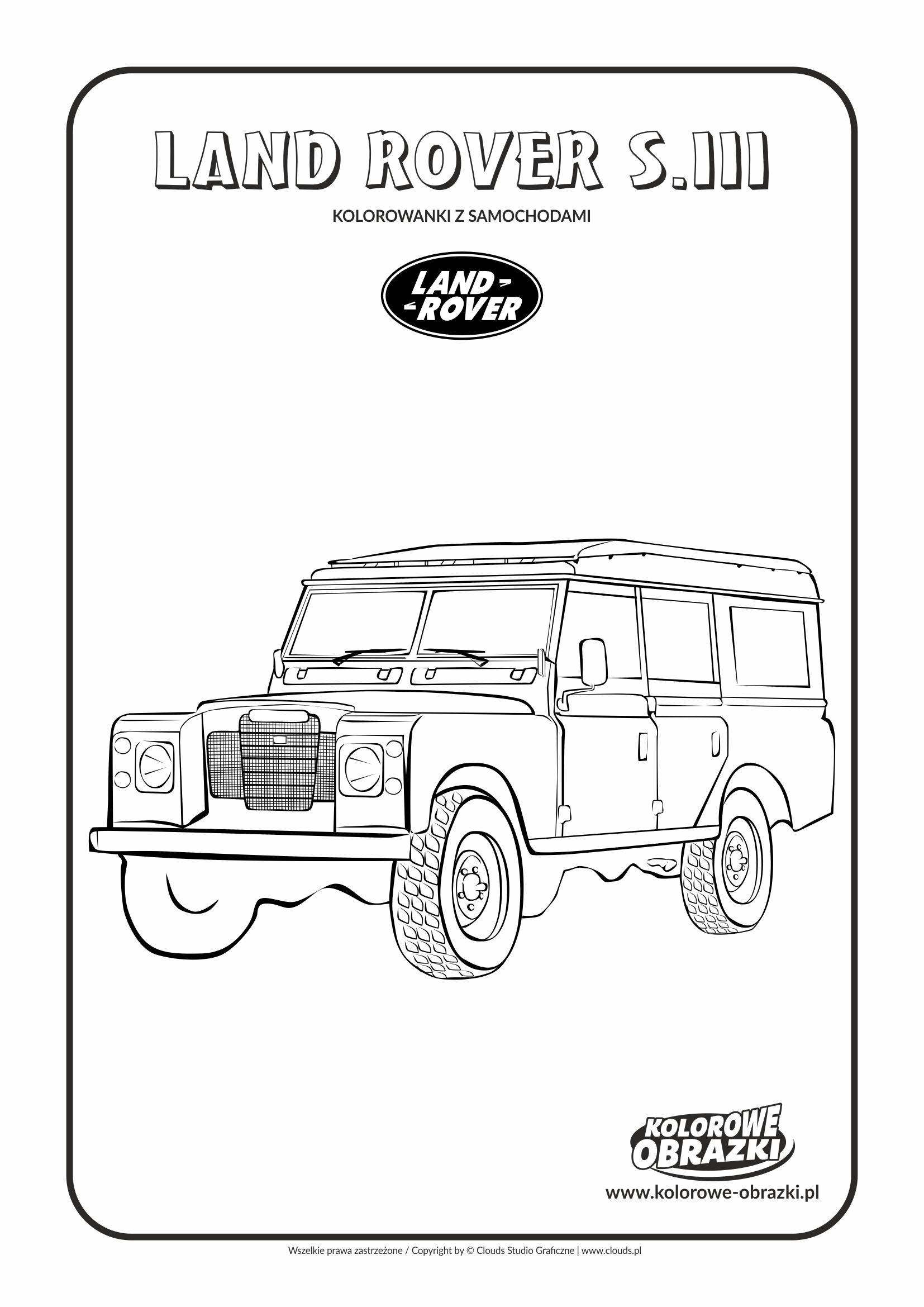 Kolorowanki dla dzieci - Pojazdy / Land Rover S. III . Kolorowanka z Land Roverem S. III