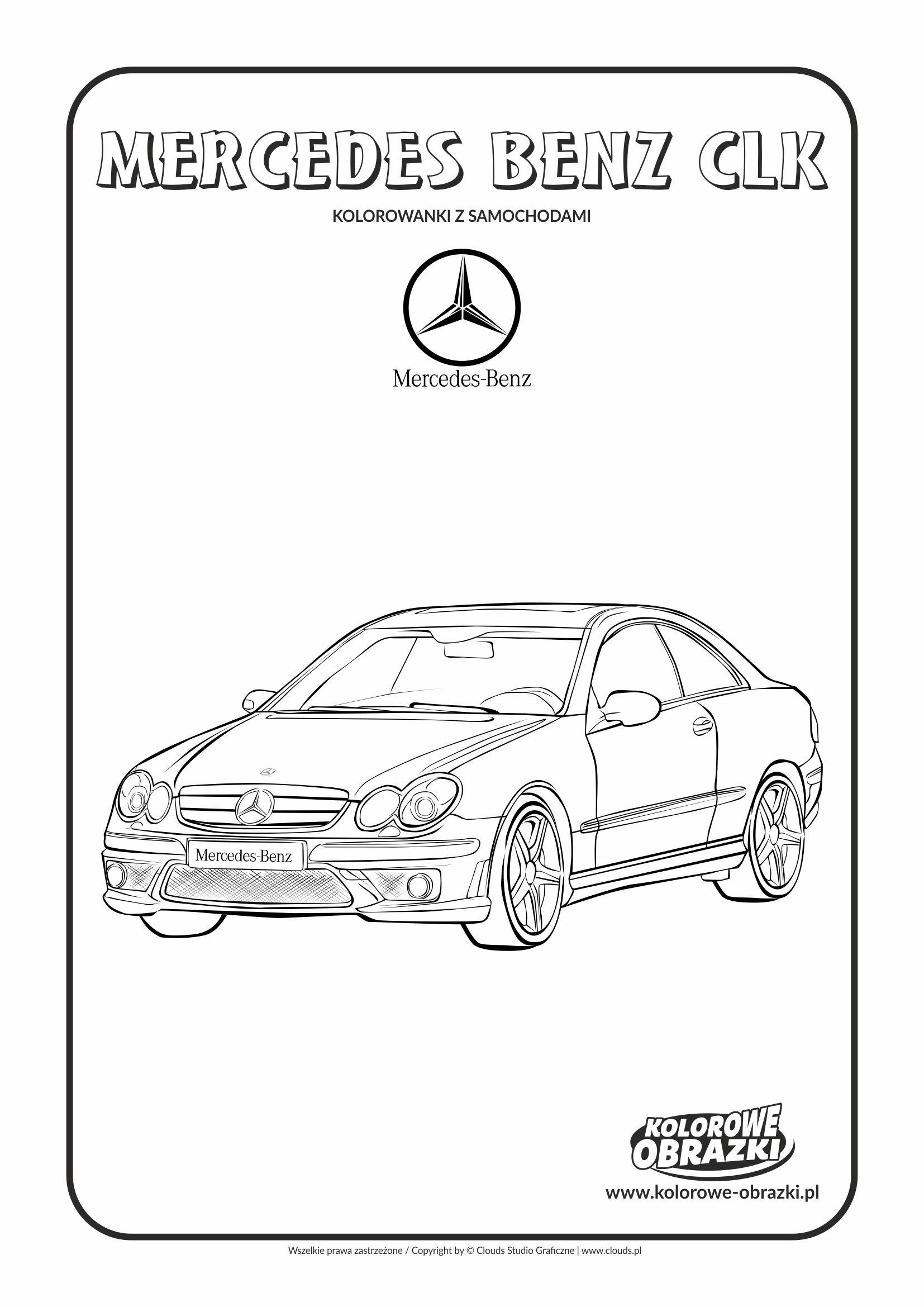 Kolorowanki dla dzieci - Pojazdy / Mercedes-Benz CLK. Kolorowanka z Mercedesem-Benz CLK