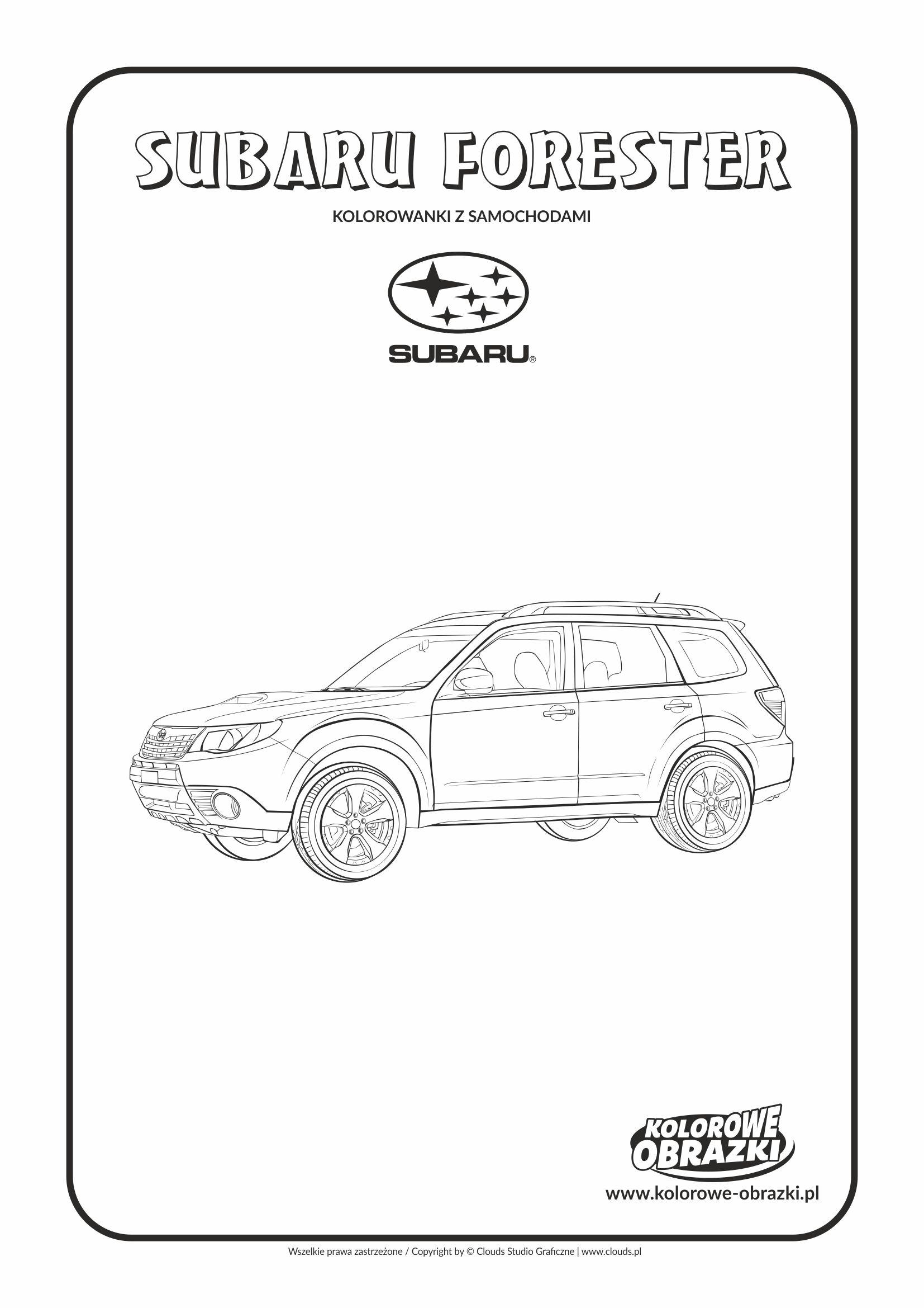 Kolorowanki dla dzieci - Pojazdy / Subaru Forester. Kolorowanka z Subaru Forester