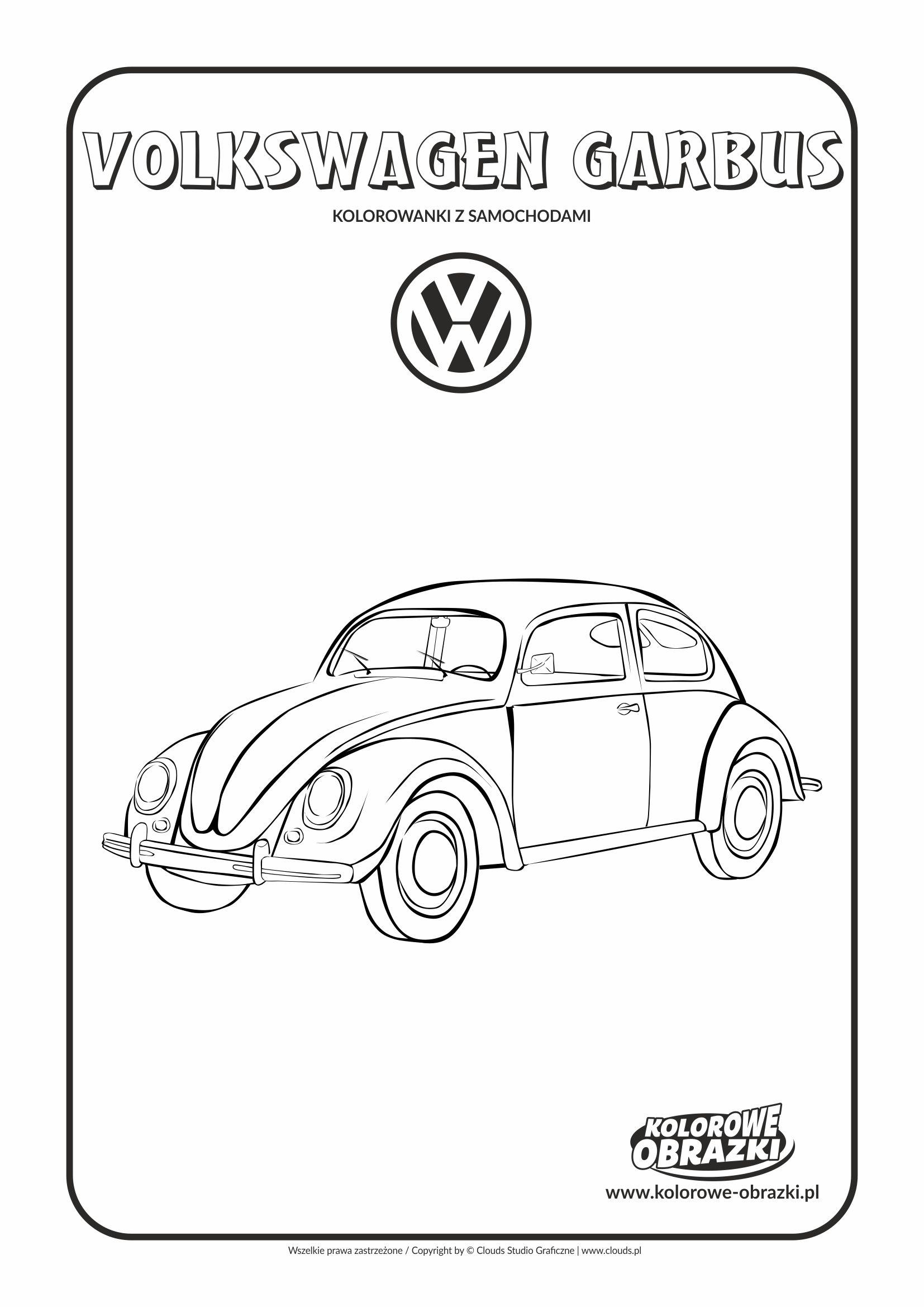 Kolorowanki dla dzieci - Pojazdy / Volkswagen Garbus. Kolorowanka z Volkswagenem Garbusem