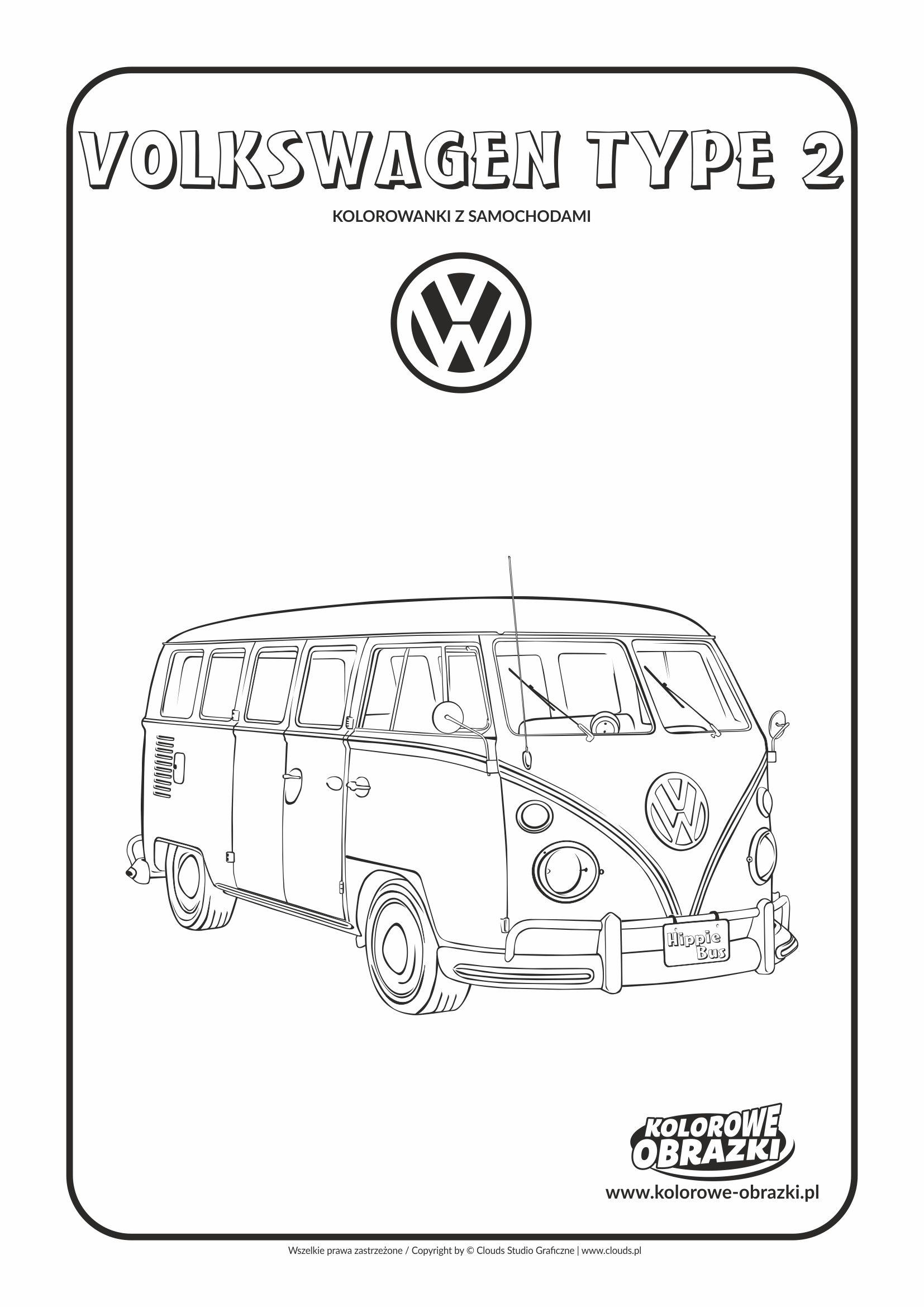 Kolorowanki dla dzieci - Pojazdy / Volkswagen Type 2. Kolorowanka z Volkswagenem Type 2