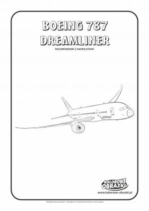 Kolorowanki dla dzieci - Pojazdy / Boeing 787 Dreamliner. Kolorowanka z Boeingiem 787 Dreamliner