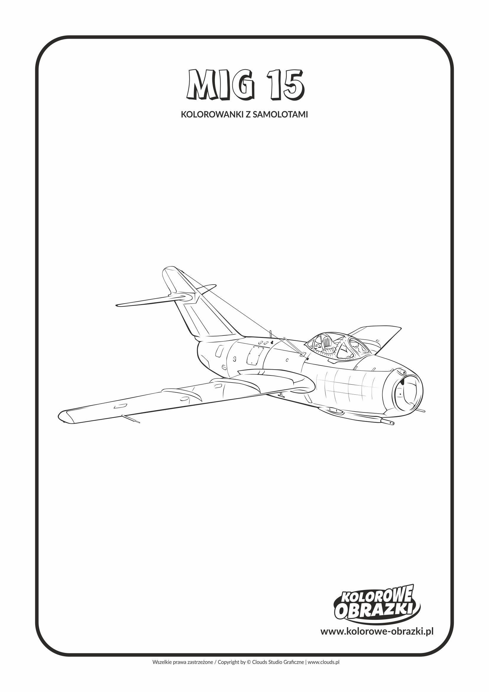 Kolorowanki dla dzieci - Pojazdy / MiG 15. Kolorowanka z MiG 15