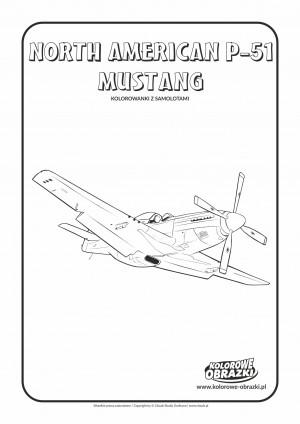 Kolorowanki dla dzieci - Pojazdy / North American P-51 Mustang. Kolorowanka z North American P-51 Mustang