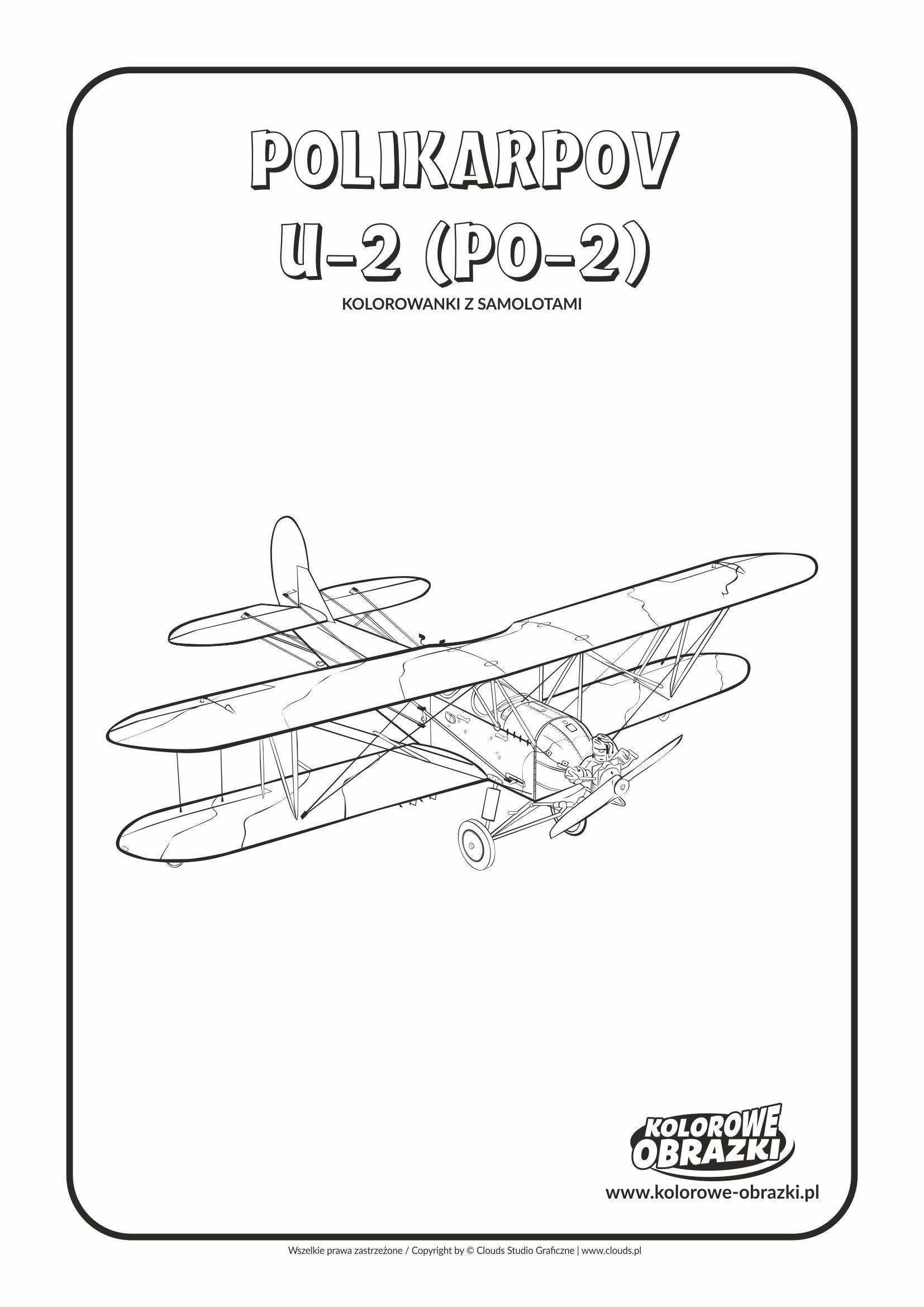 Kolorowanki dla dzieci - Pojazdy / Polikarpov U-2 (Po-2). Kolorowanka z Polikarpovem U-2 (Po-2)