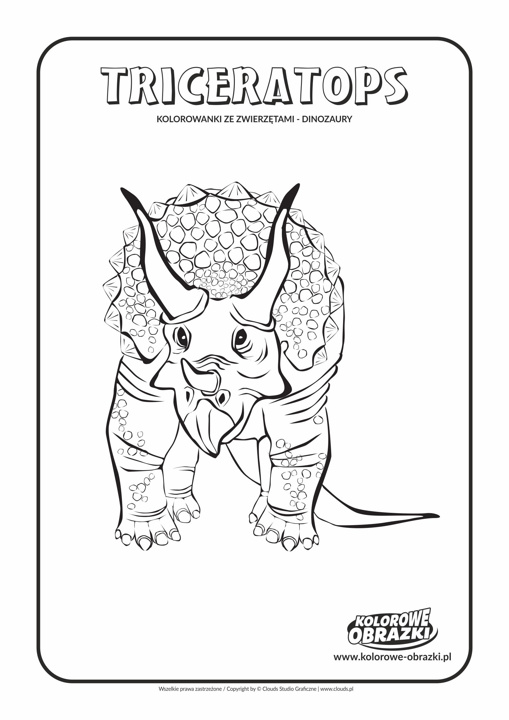Kolorowanki dla dzieci - Zwierzęta / Triceratops. Kolorowanka z Triceratopsem