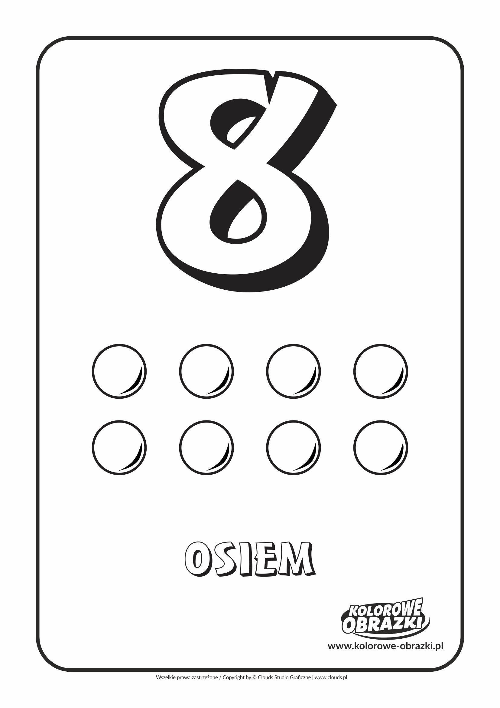 Kolorowanki dla dzieci - Cyfry / Cyfra 8. Kolorowanka z cyfrą 8