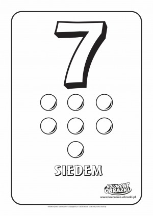 Kolorowanki dla dzieci - Cyfry / Cyfra 7. Kolorowanka z cyfrą 7