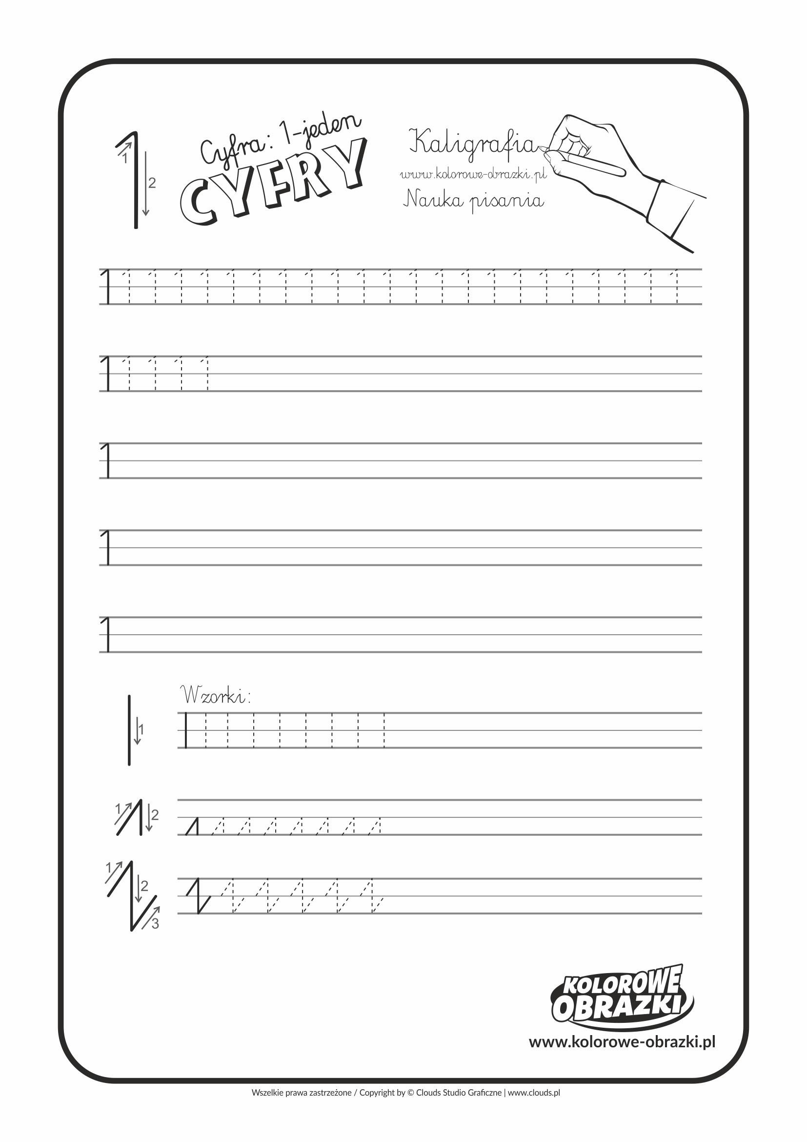Kaligrafia dla dzieci - Ćwiczenia kaligraficzne / Cyfra 1. Nauka pisania cyfry 1