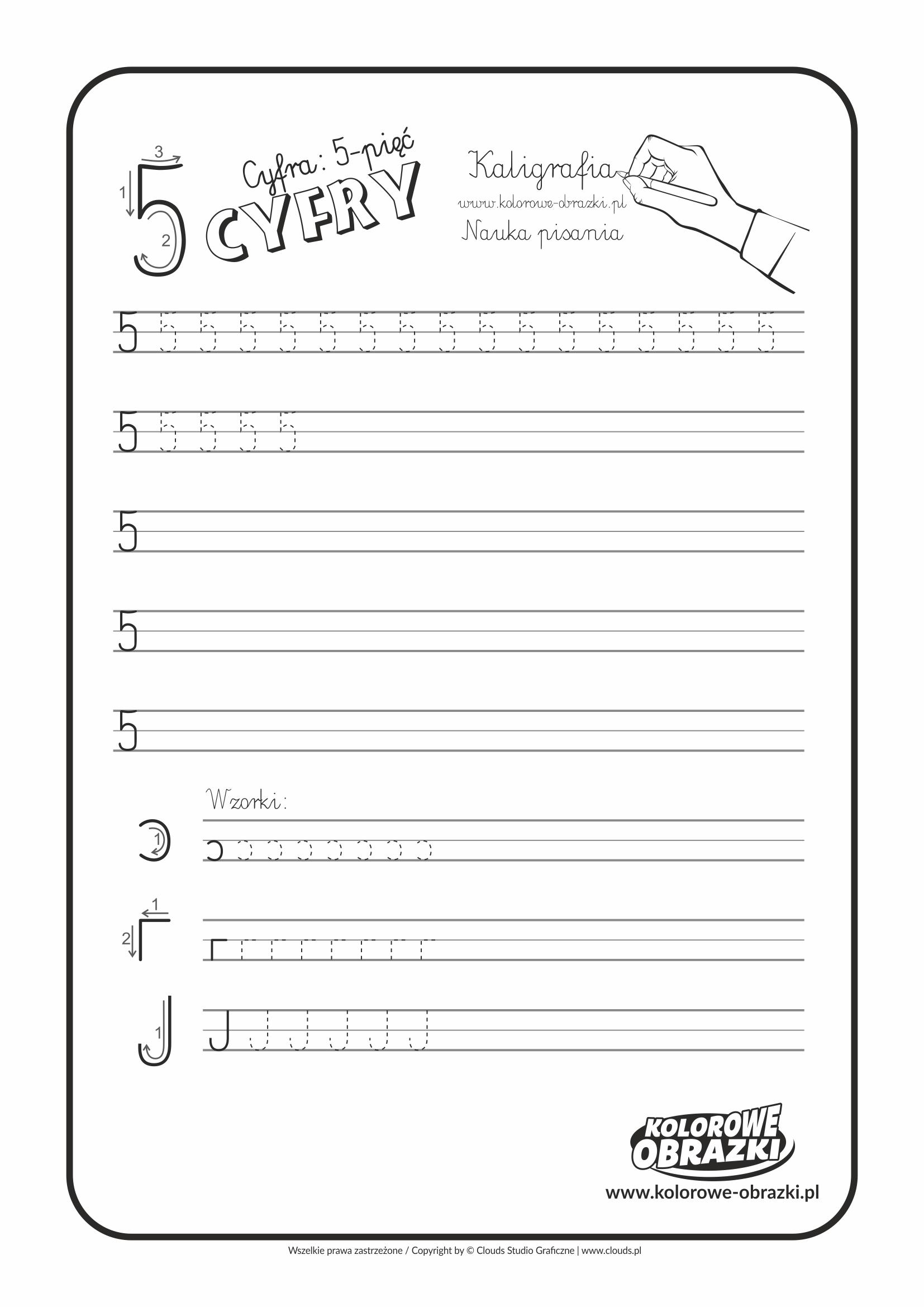 Kaligrafia dla dzieci - Ćwiczenia kaligraficzne / Cyfra 5. Nauka pisania cyfry 5