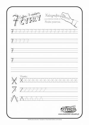 Kaligrafia dla dzieci - Ćwiczenia kaligraficzne / Cyfra 7. Nauka pisania cyfry 7