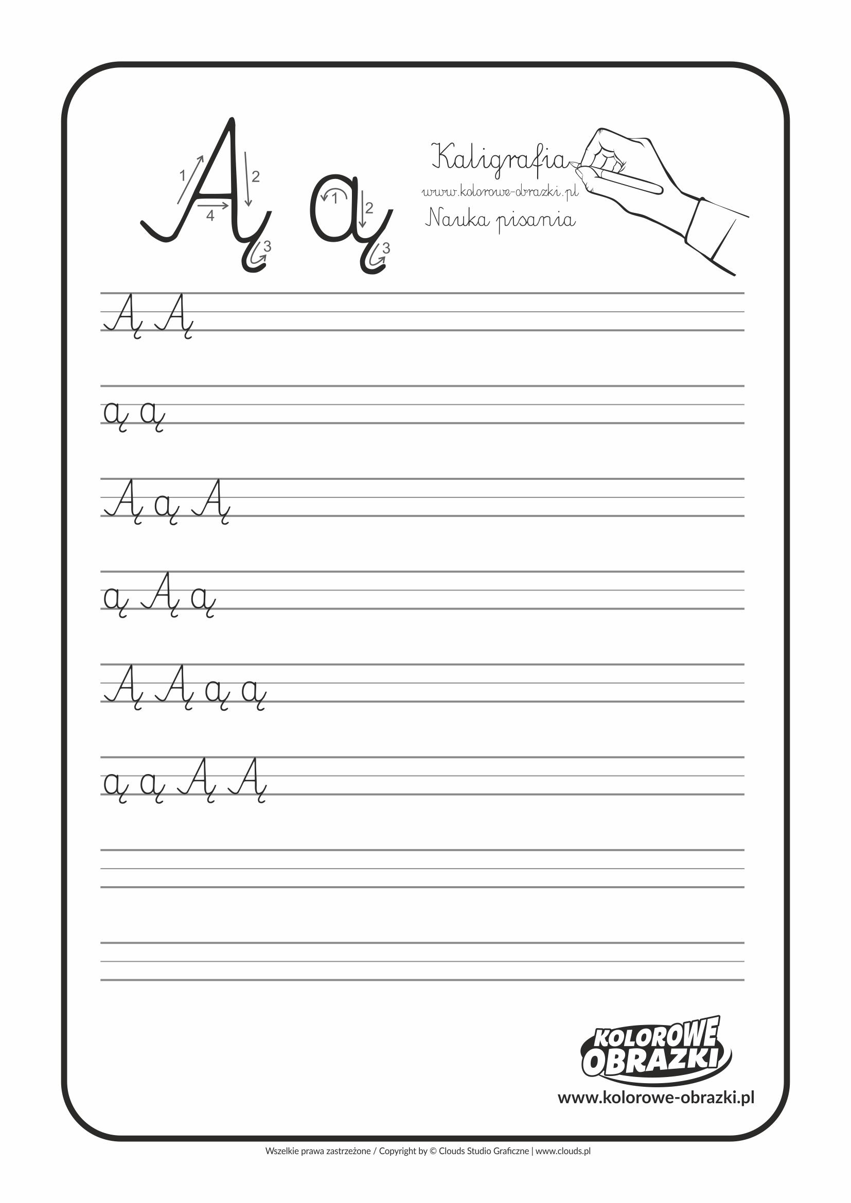 Kaligrafia dla dzieci - Ćwiczenia kaligraficzne / Litera Ą. Nauka pisania litery Ą