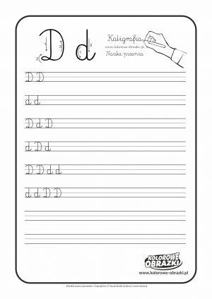 Kaligrafia dla dzieci - Ćwiczenia kaligraficzne / Litera D. Nauka pisania litery D