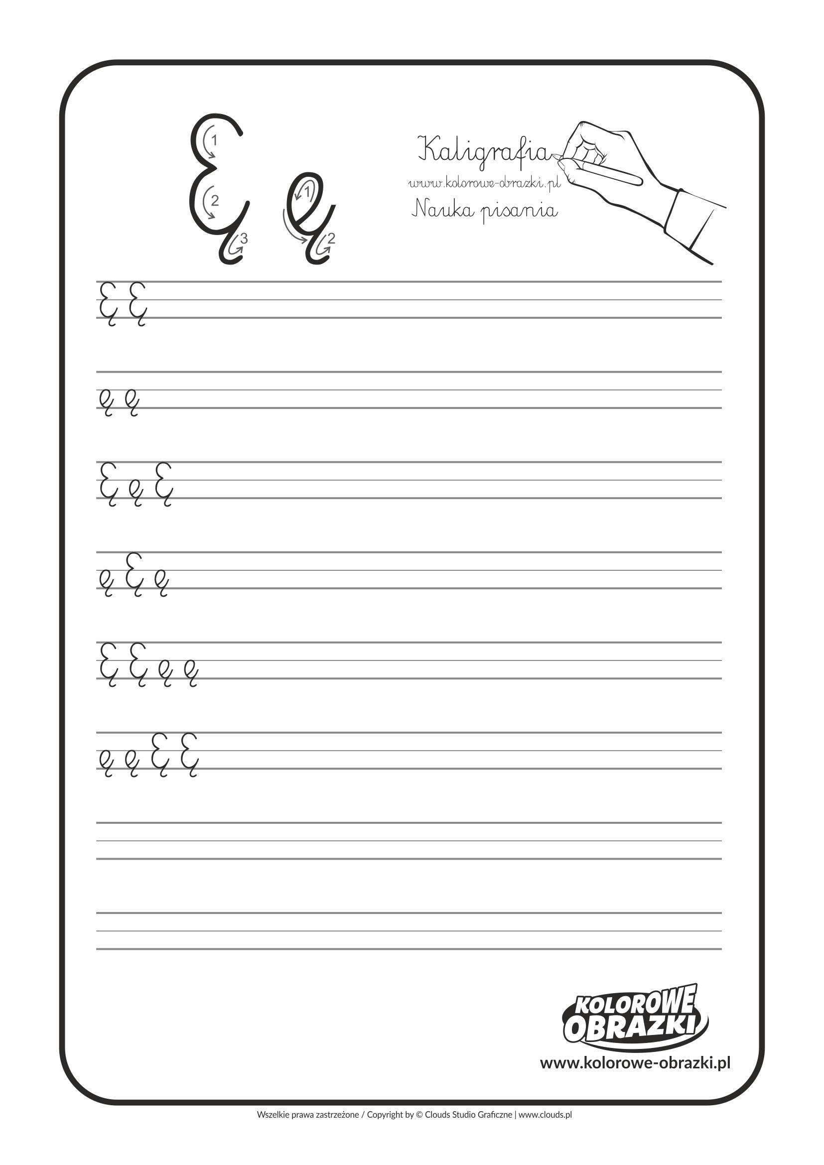 Kaligrafia dla dzieci - Ćwiczenia kaligraficzne / Litera Ę. Nauka pisania litery Ę