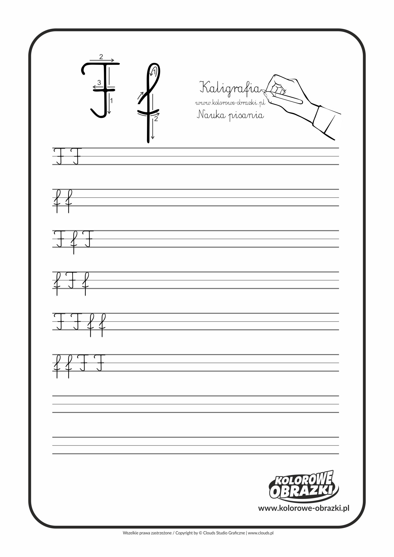 Kaligrafia dla dzieci - Ćwiczenia kaligraficzne / Litera F. Nauka pisania litery F