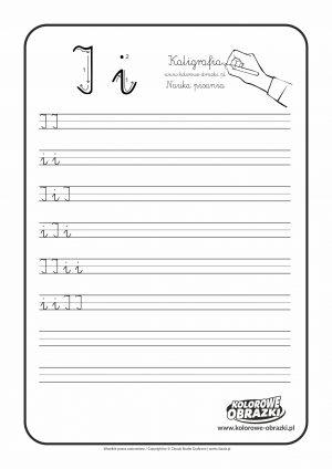 Kaligrafia dla dzieci - Ćwiczenia kaligraficzne / Litera I. Nauka pisania litery I