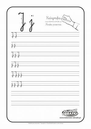 Kaligrafia dla dzieci - Ćwiczenia kaligraficzne / Litera J. Nauka pisania litery J