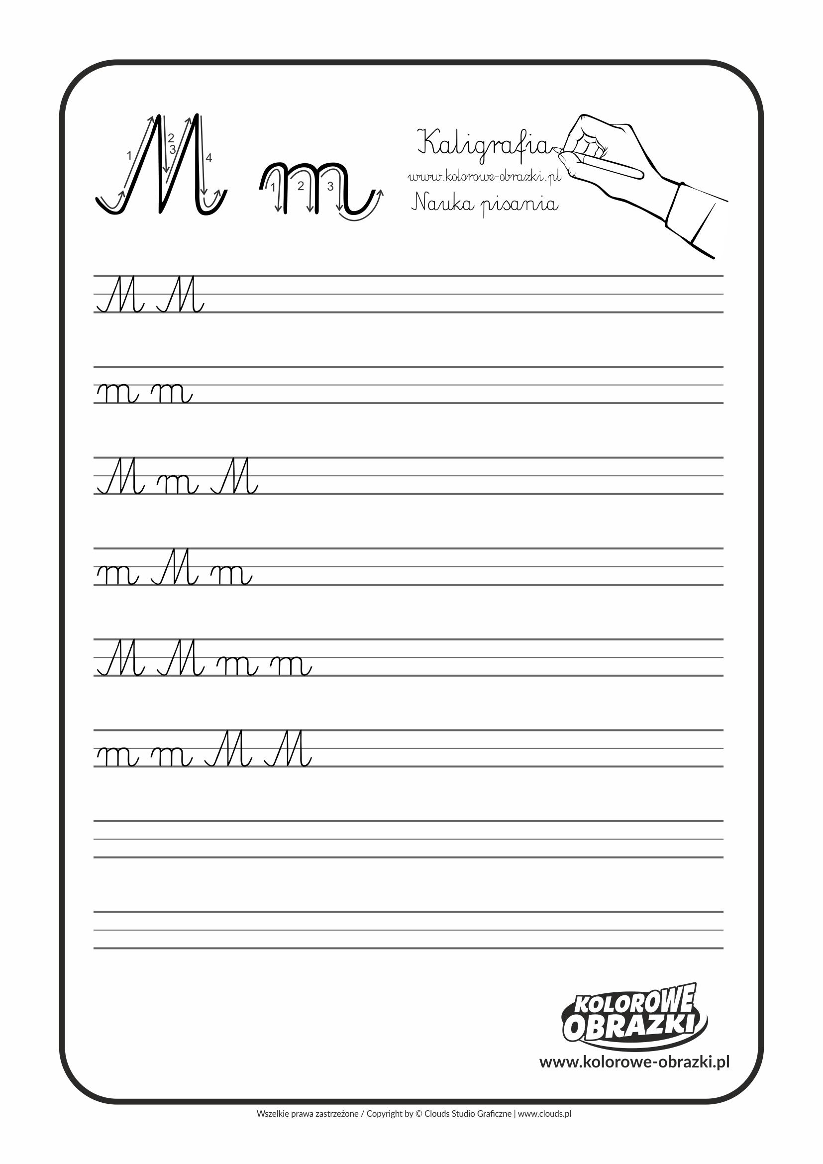 Kaligrafia dla dzieci - Ćwiczenia kaligraficzne / Litera M. Nauka pisania litery M