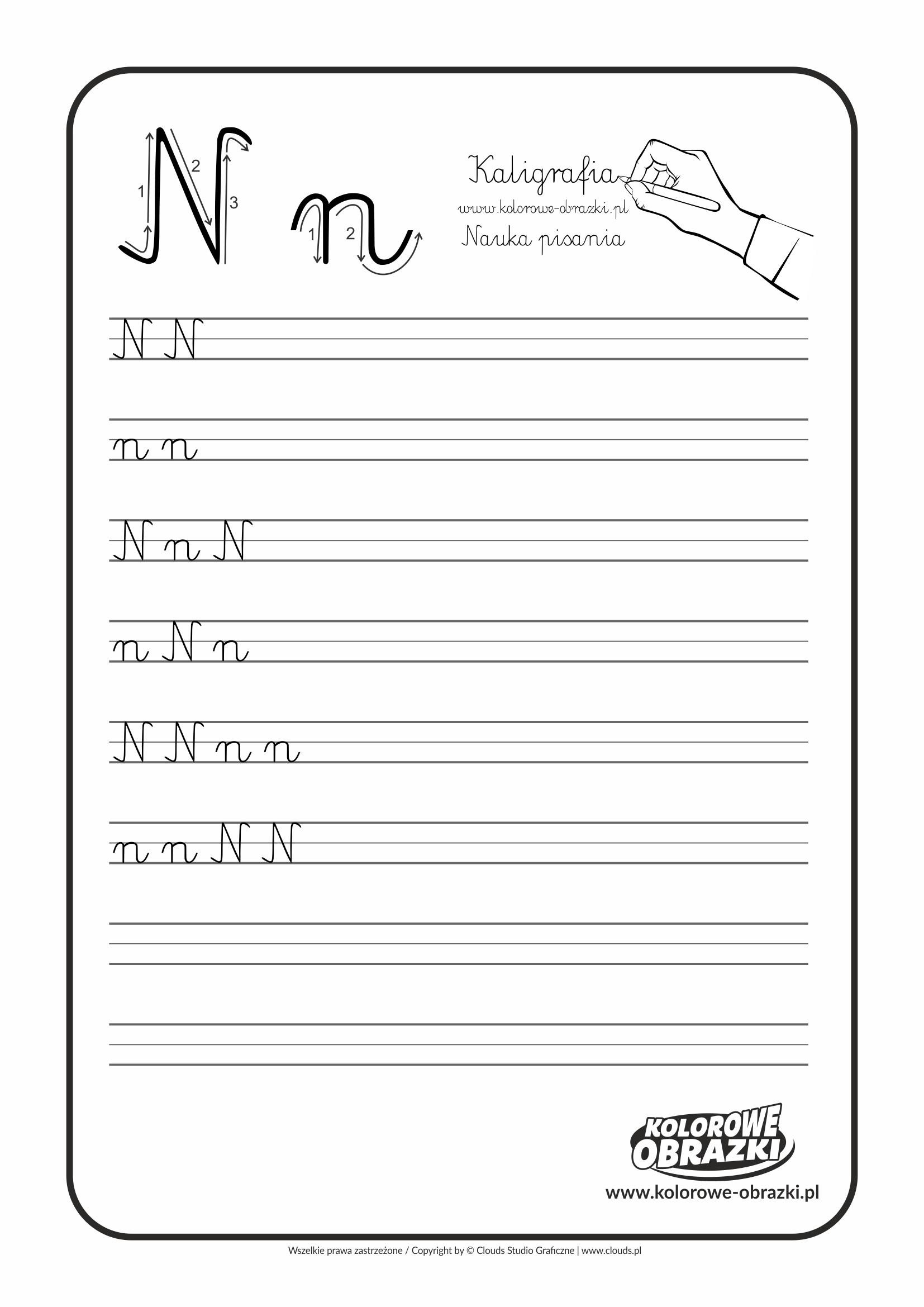 Kaligrafia dla dzieci - Ćwiczenia kaligraficzne / Litera N. Nauka pisania litery N