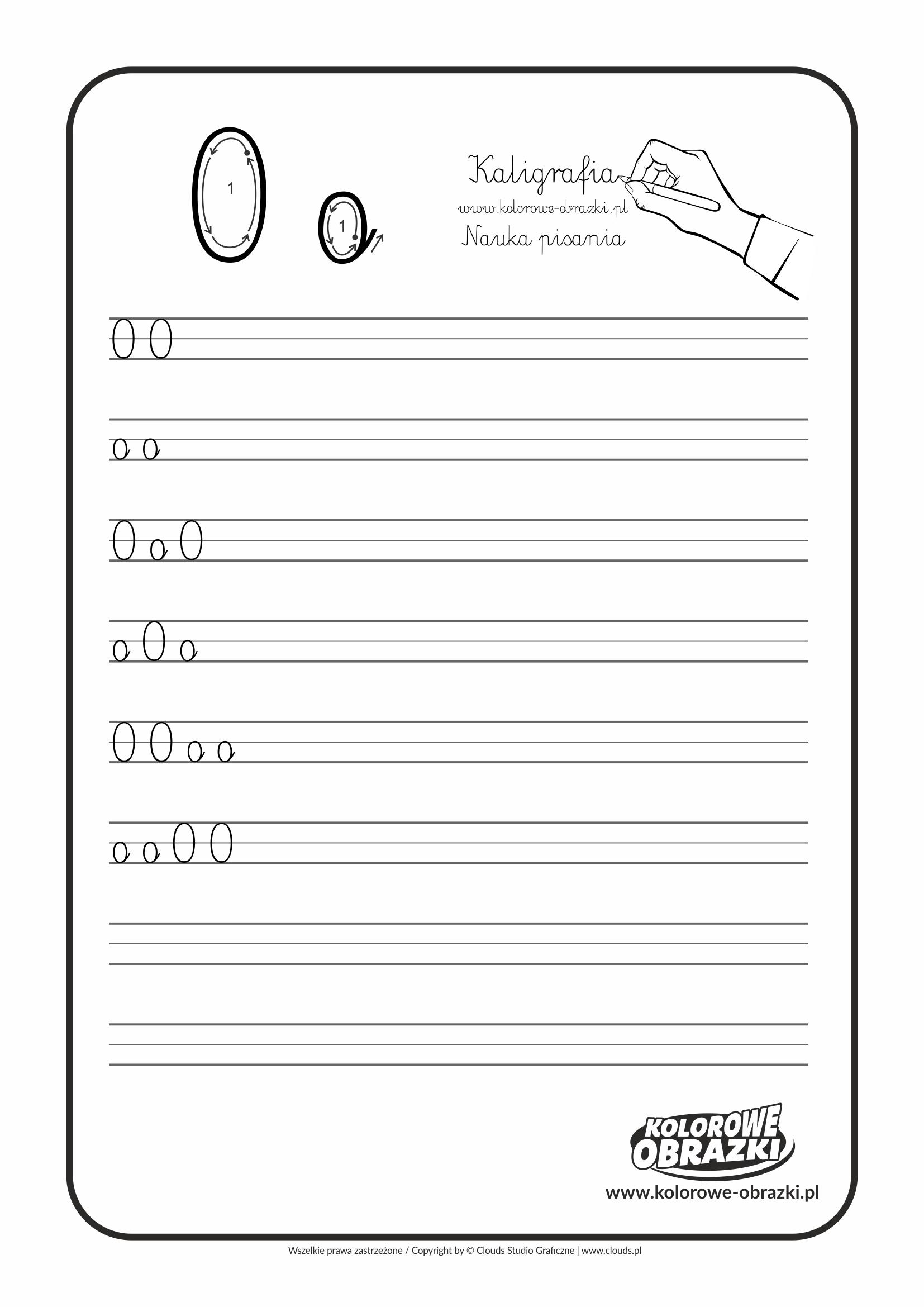 Kaligrafia dla dzieci - Ćwiczenia kaligraficzne / Litera O. Nauka pisania litery O