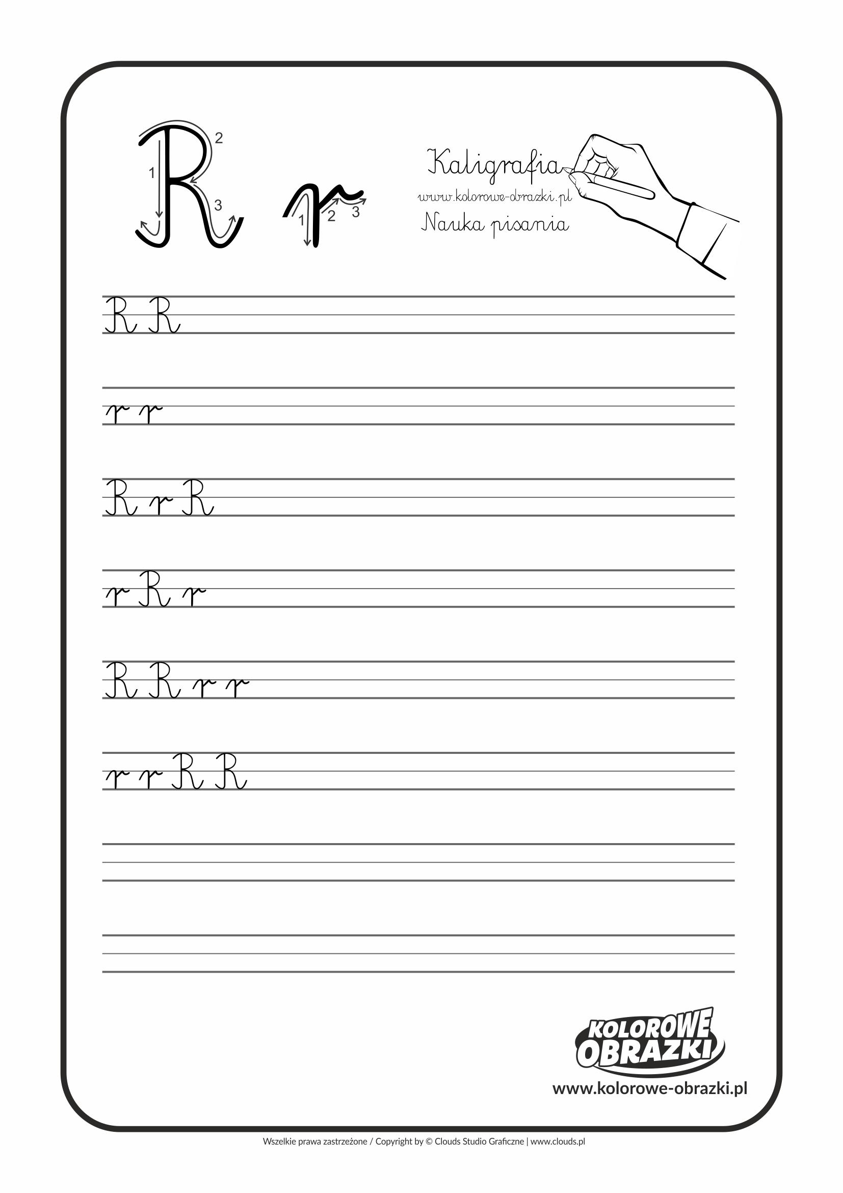 Kaligrafia dla dzieci - Ćwiczenia kaligraficzne / Litera R. Nauka pisania litery R