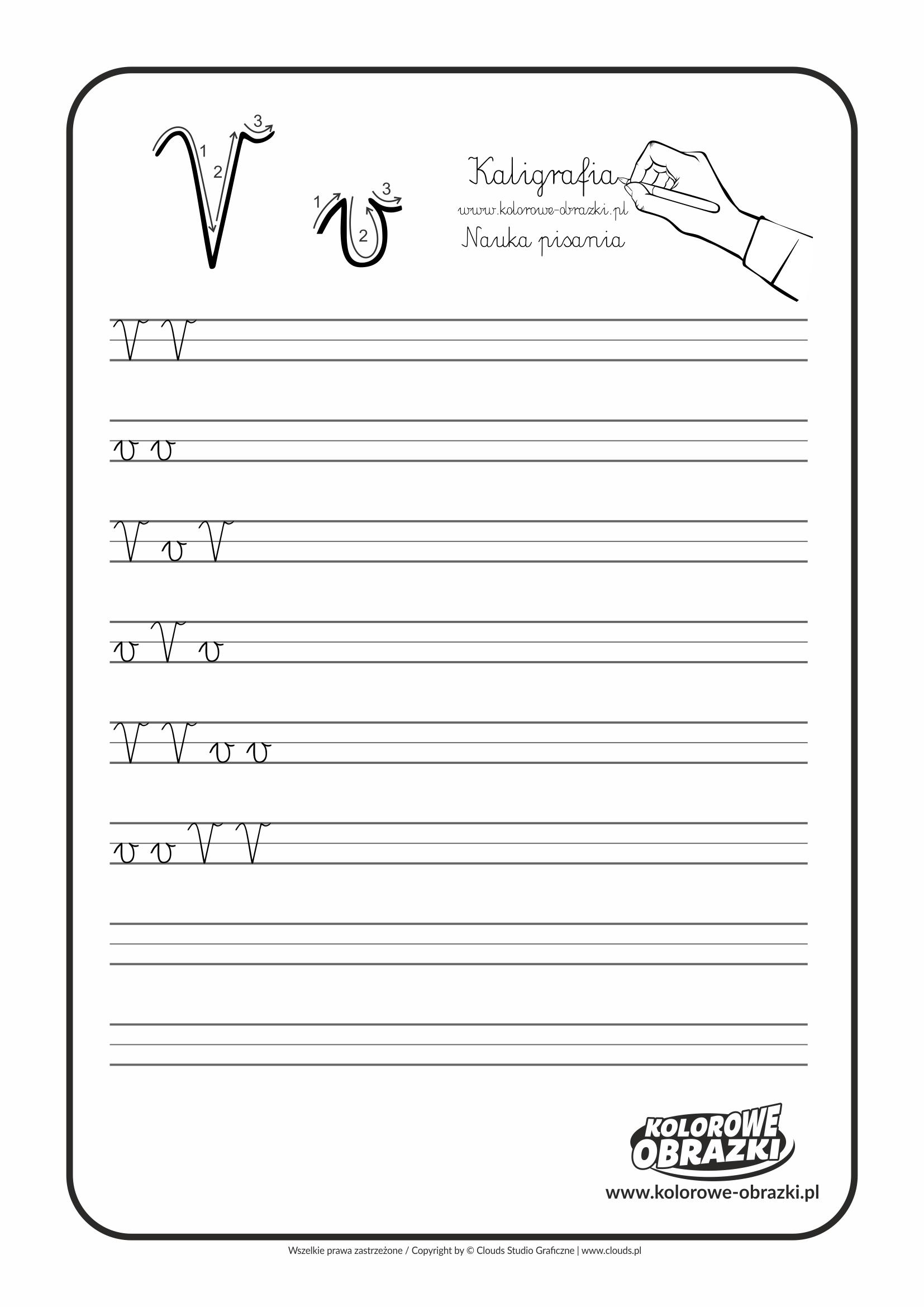 Kaligrafia dla dzieci - Ćwiczenia kaligraficzne / Litera V. Nauka pisania litery V