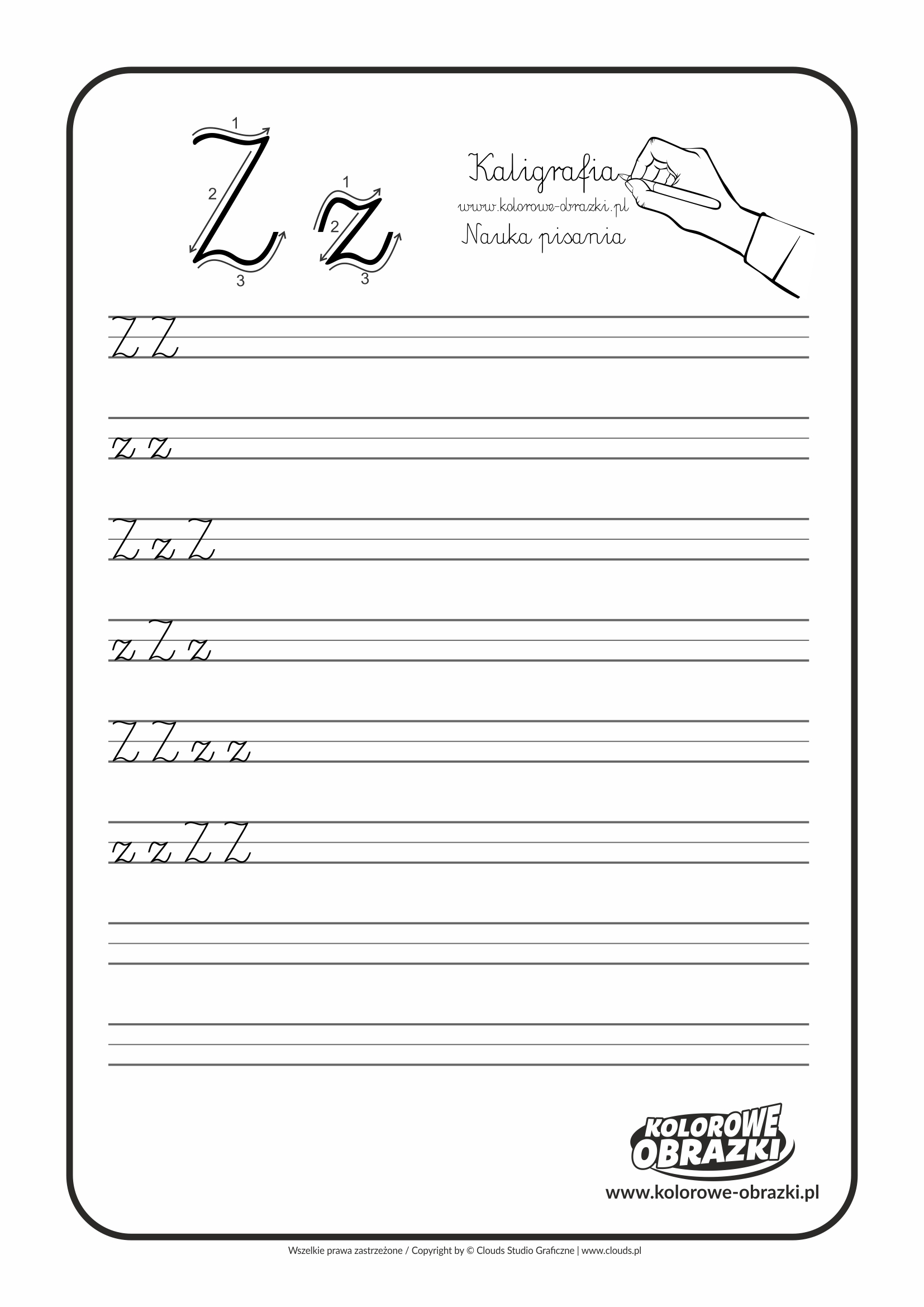 Kaligrafia dla dzieci - Ćwiczenia kaligraficzne / Litera Z. Nauka pisania litery Z