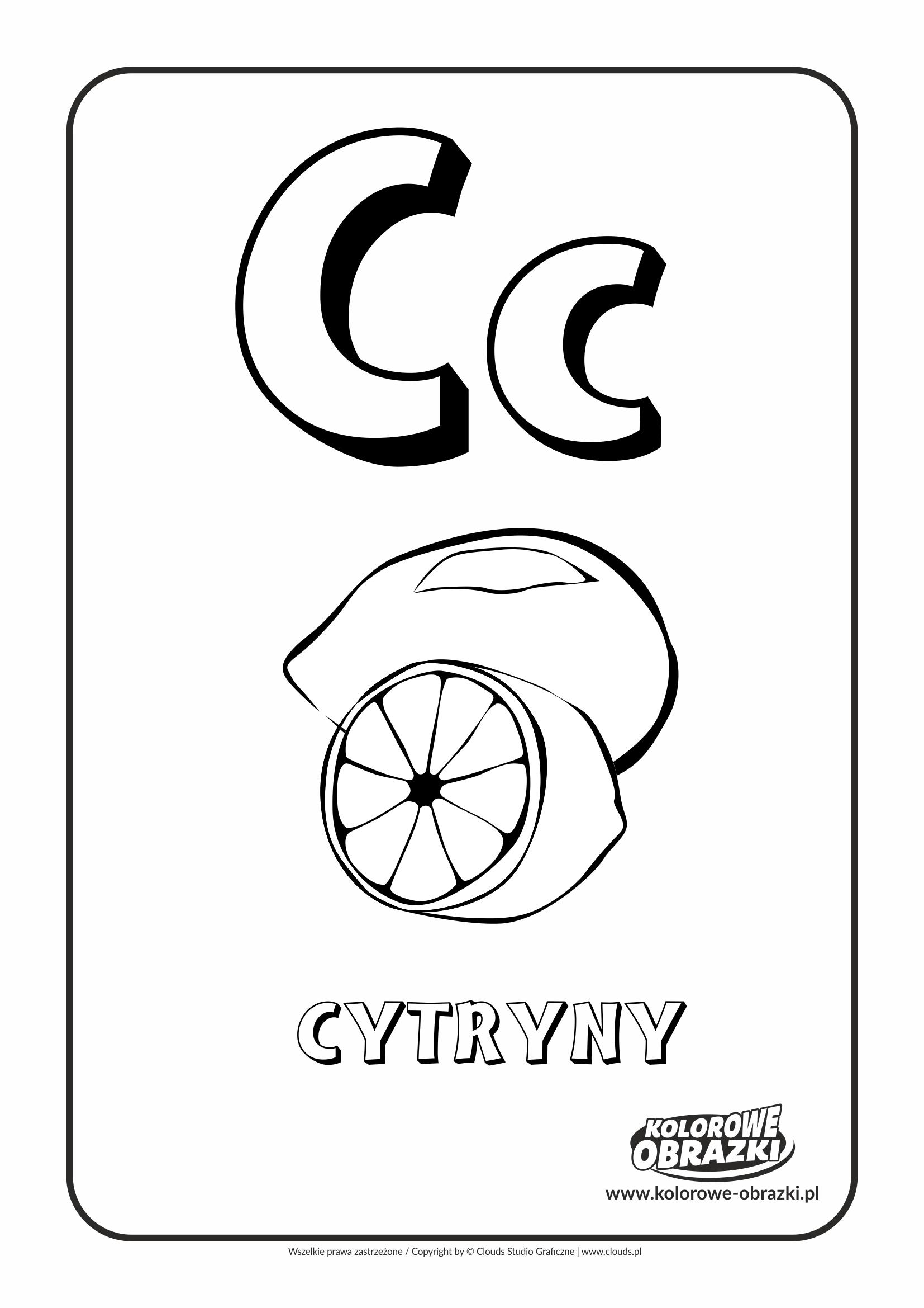 Kolorowanki dla dzieci - Litery / Litera C. Kolorowanka z literą C