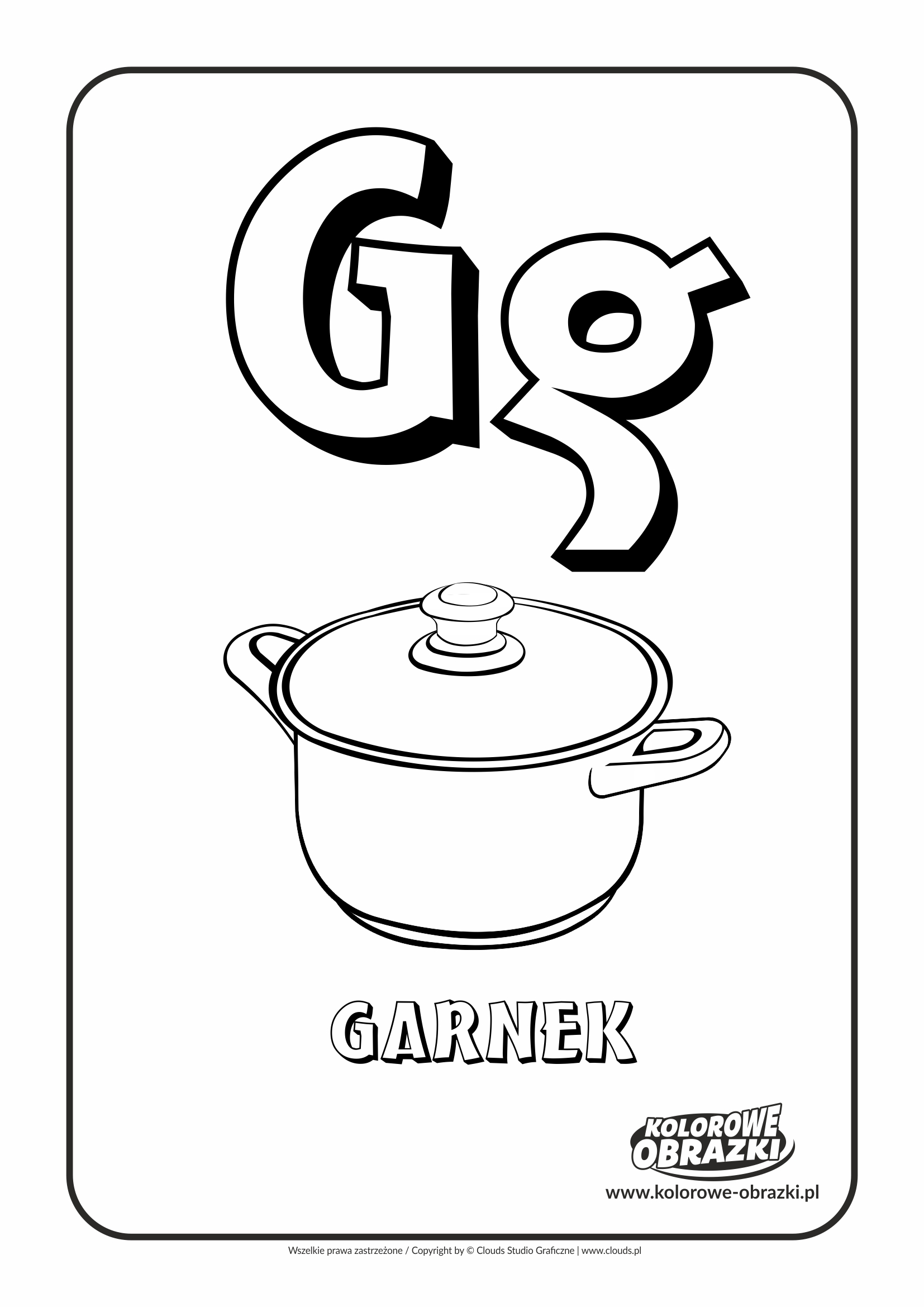 Kolorowanki dla dzieci - Litery / Litera G. Kolorowanka z literą G