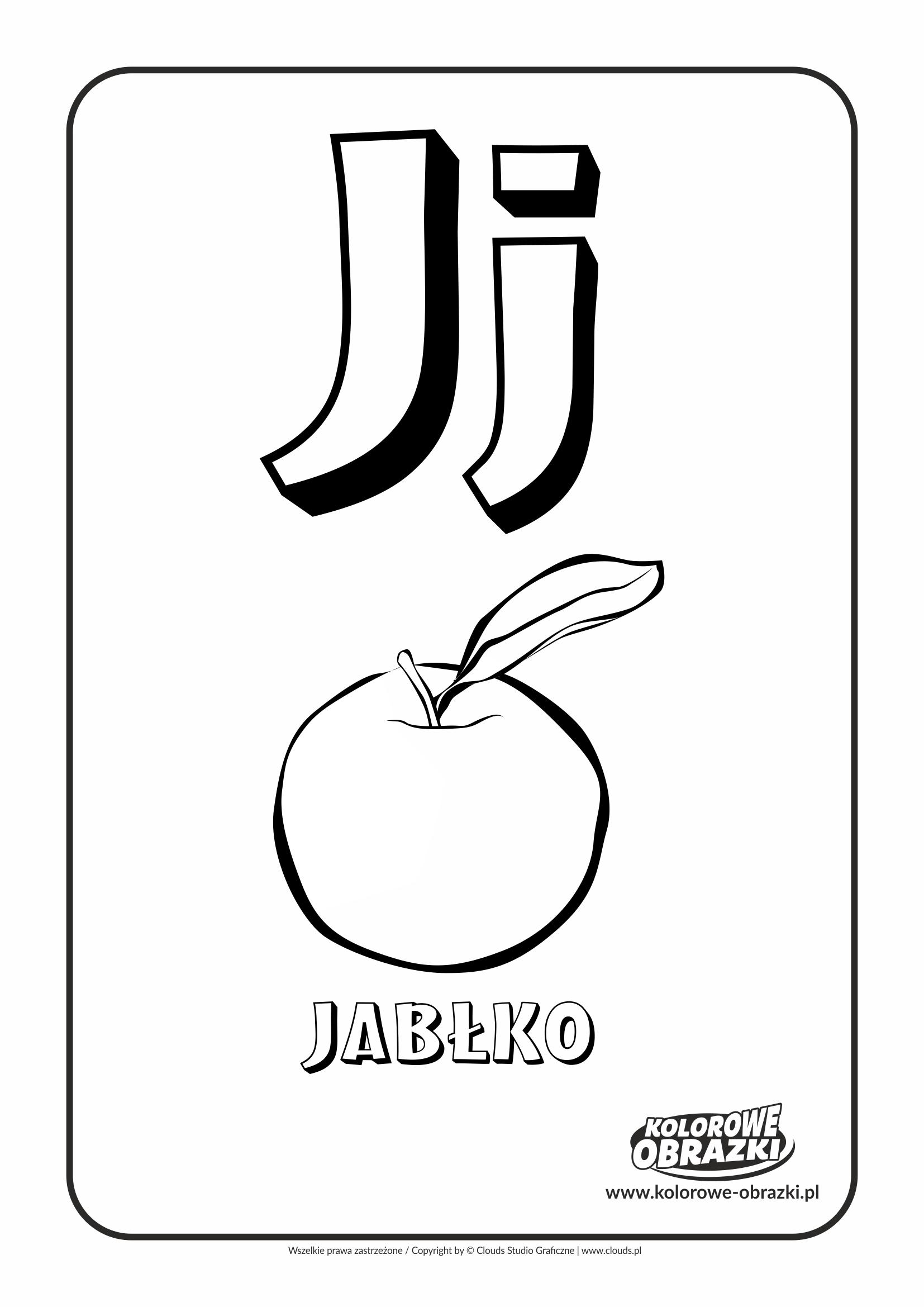 Kolorowanki dla dzieci - Litery / Litera J. Kolorowanka z literą J