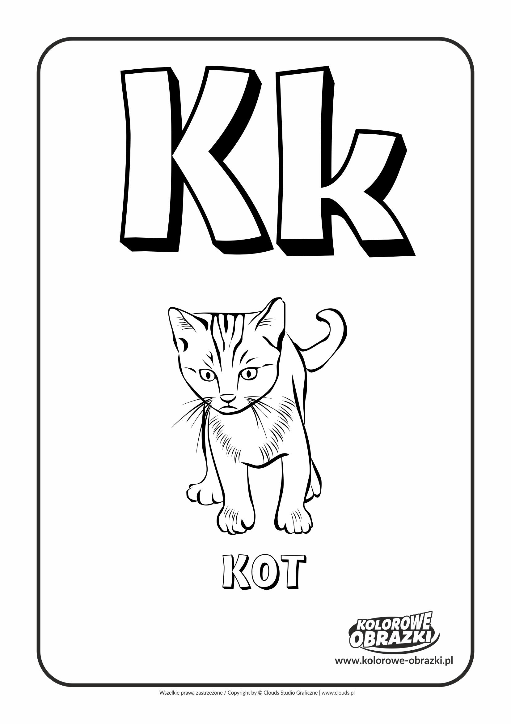Kolorowanki dla dzieci - Litery / Litera K. Kolorowanka z literą K