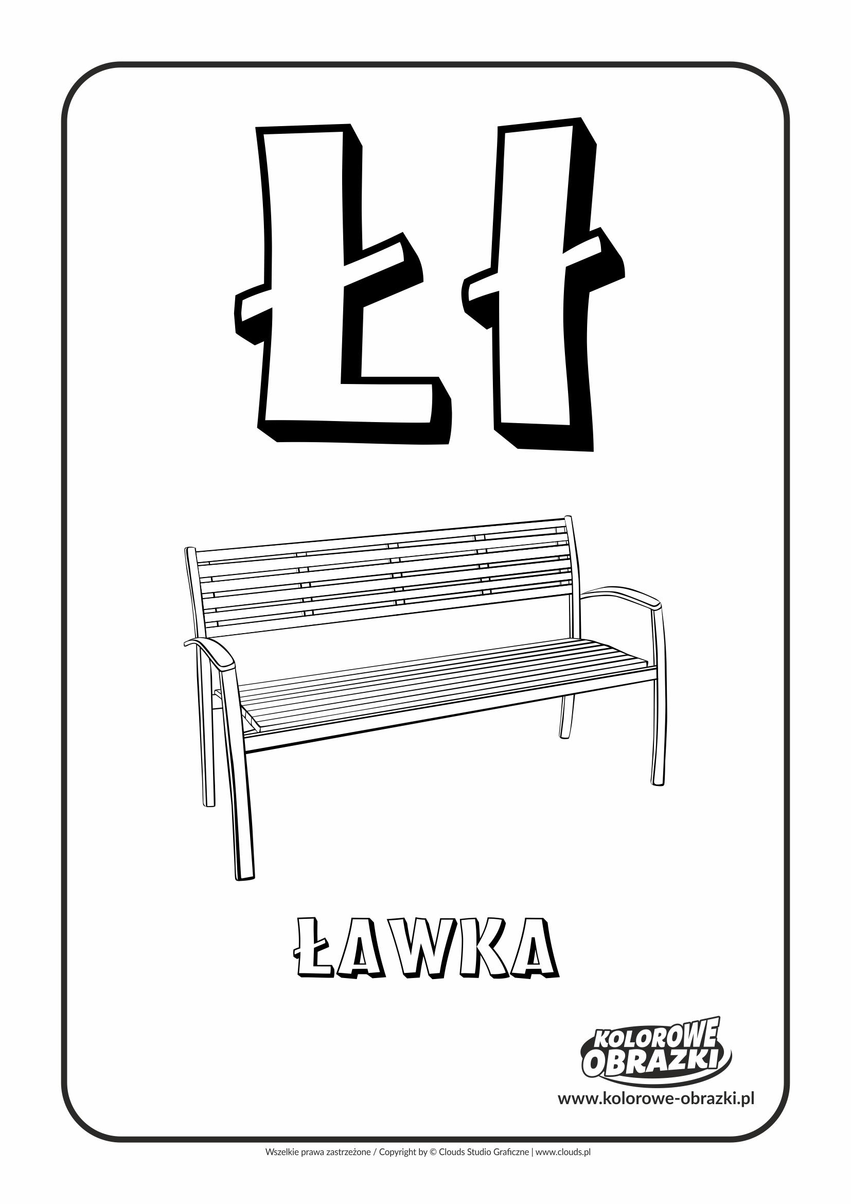 Kolorowanki dla dzieci - Litery / Litera Ł. Kolorowanka z literą Ł